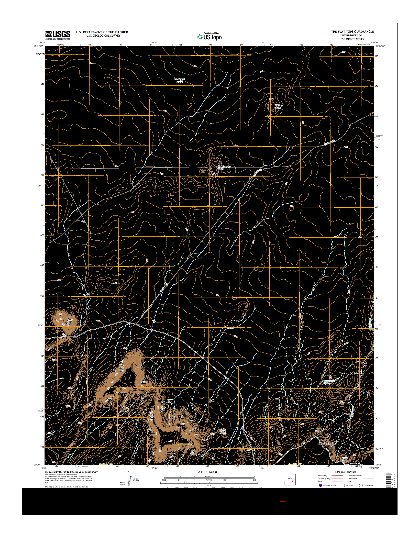 USGS US TOPO 7.5-MINUTE MAP FOR THE FLAT TOPS, UT 2014