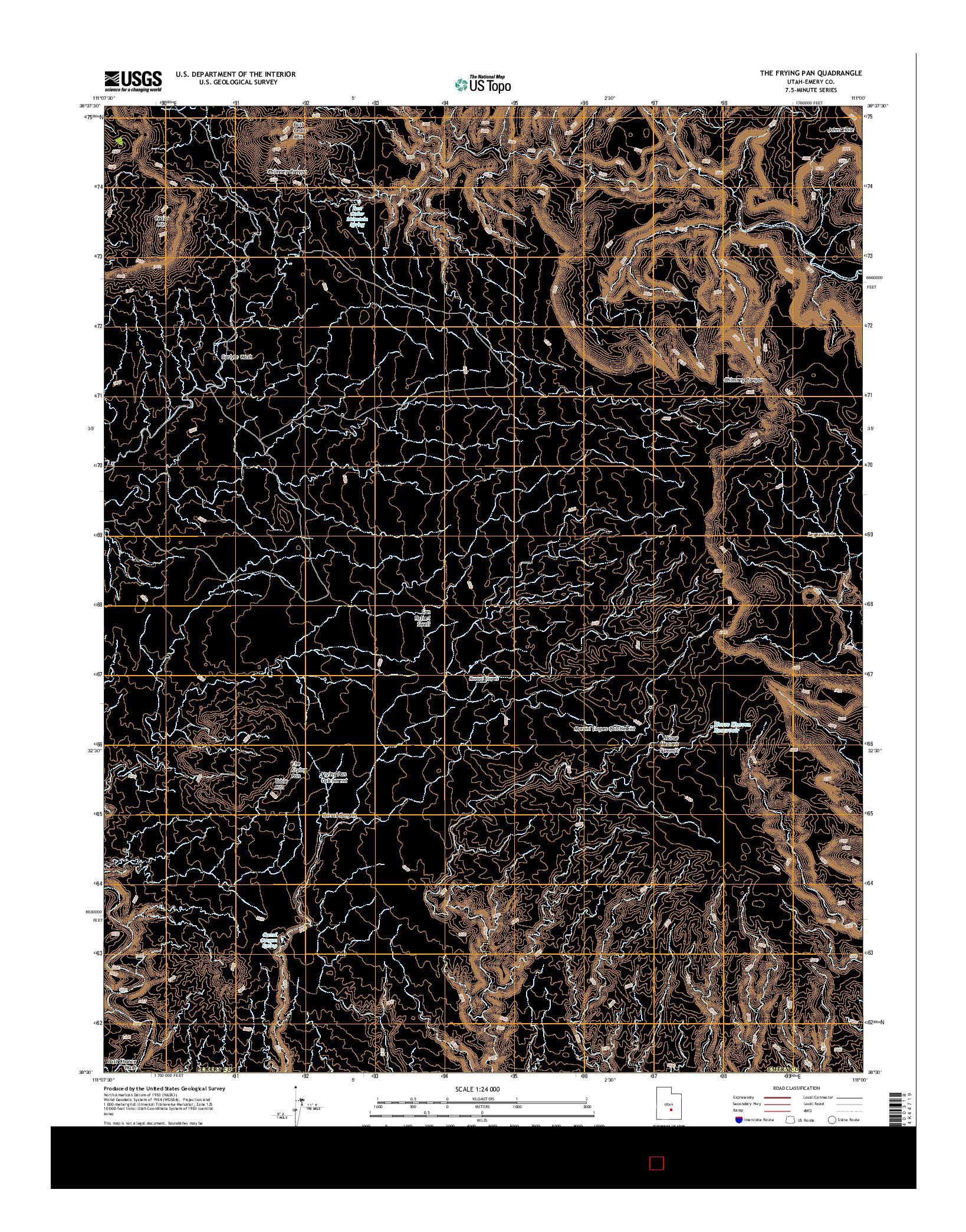 USGS US TOPO 7.5-MINUTE MAP FOR THE FRYING PAN, UT 2014