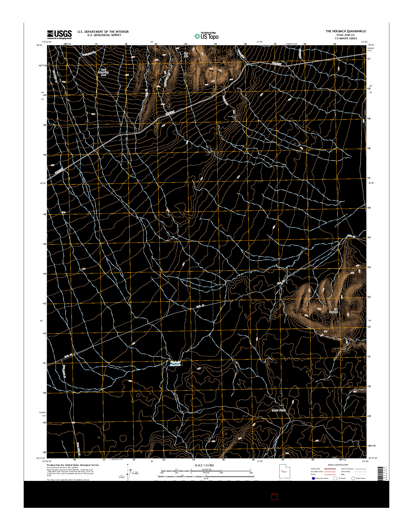 USGS US TOPO 7.5-MINUTE MAP FOR THE HOGBACK, UT 2014
