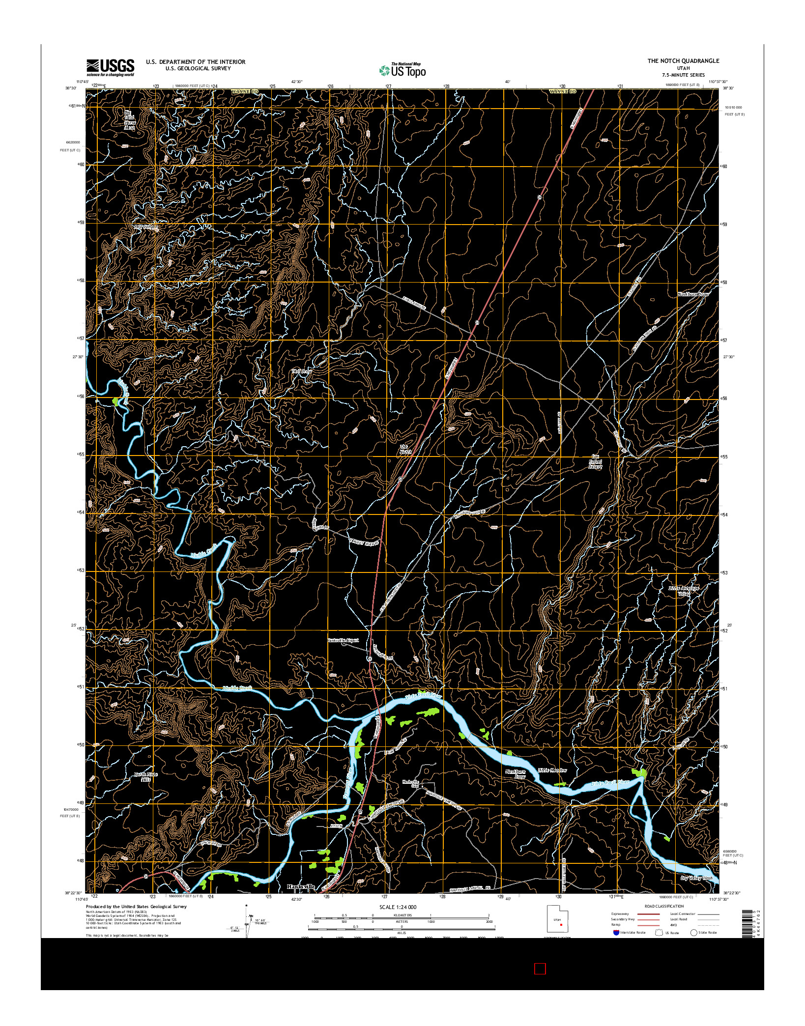 USGS US TOPO 7.5-MINUTE MAP FOR THE NOTCH, UT 2014