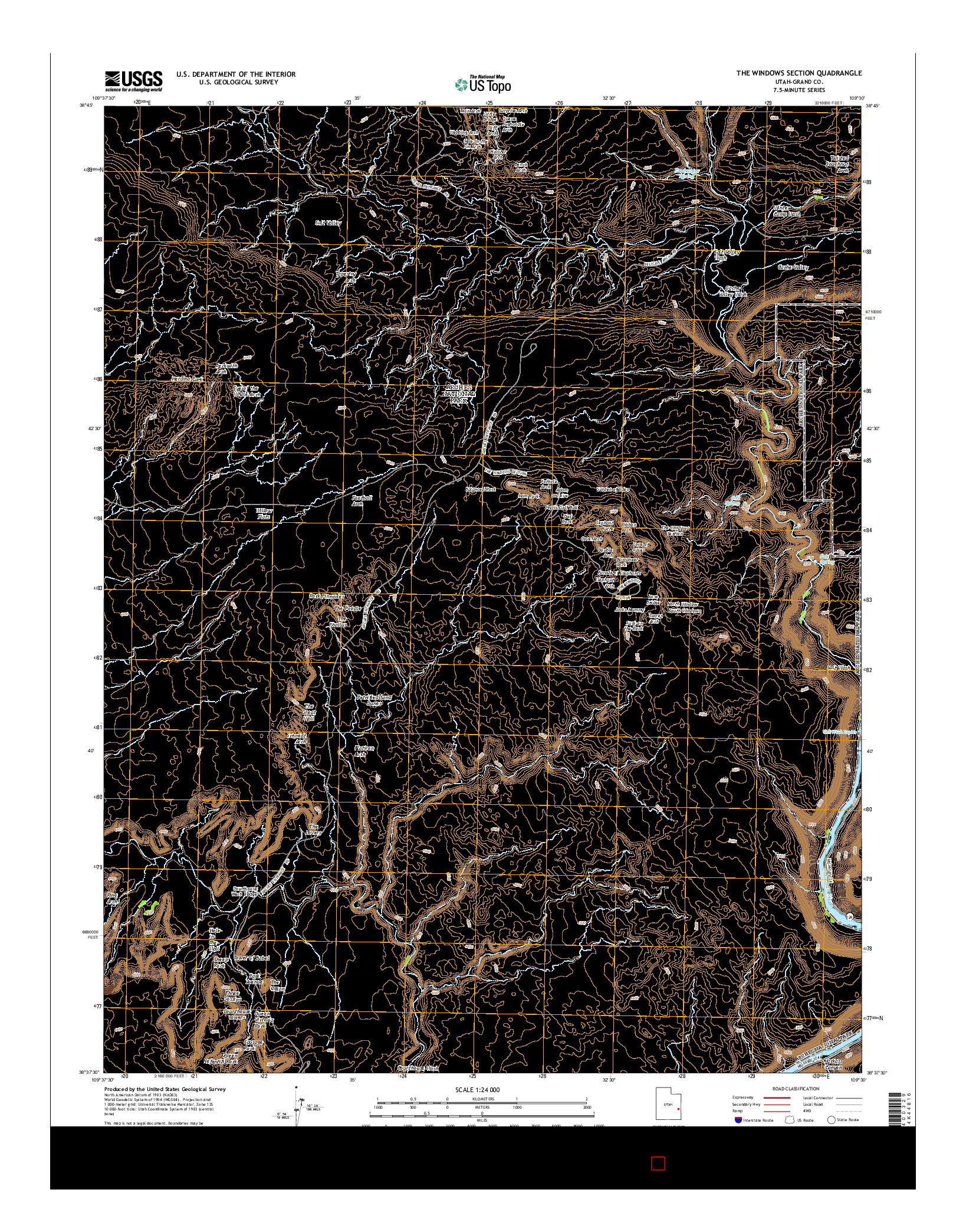USGS US TOPO 7.5-MINUTE MAP FOR THE WINDOWS SECTION, UT 2014