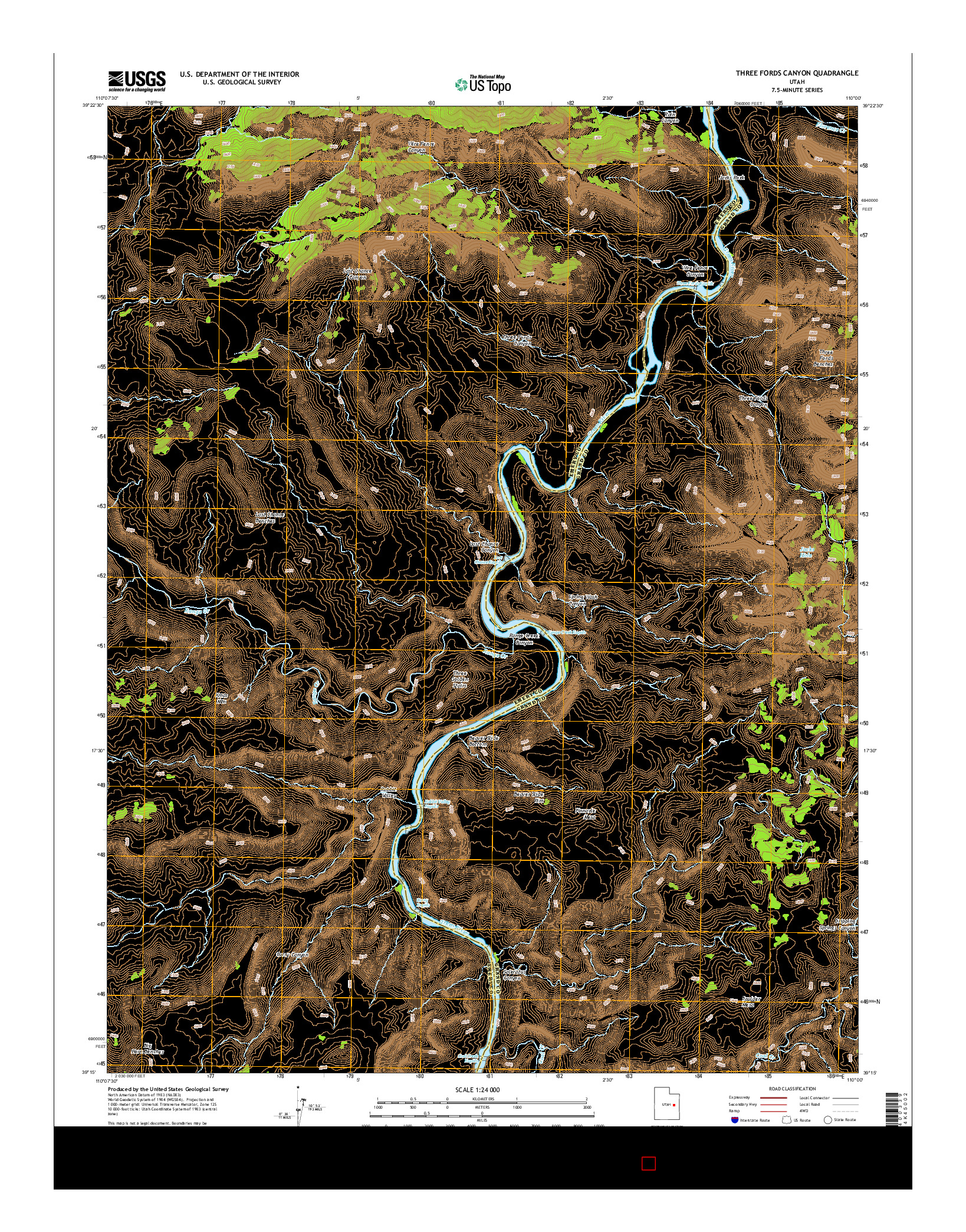 USGS US TOPO 7.5-MINUTE MAP FOR THREE FORDS CANYON, UT 2014
