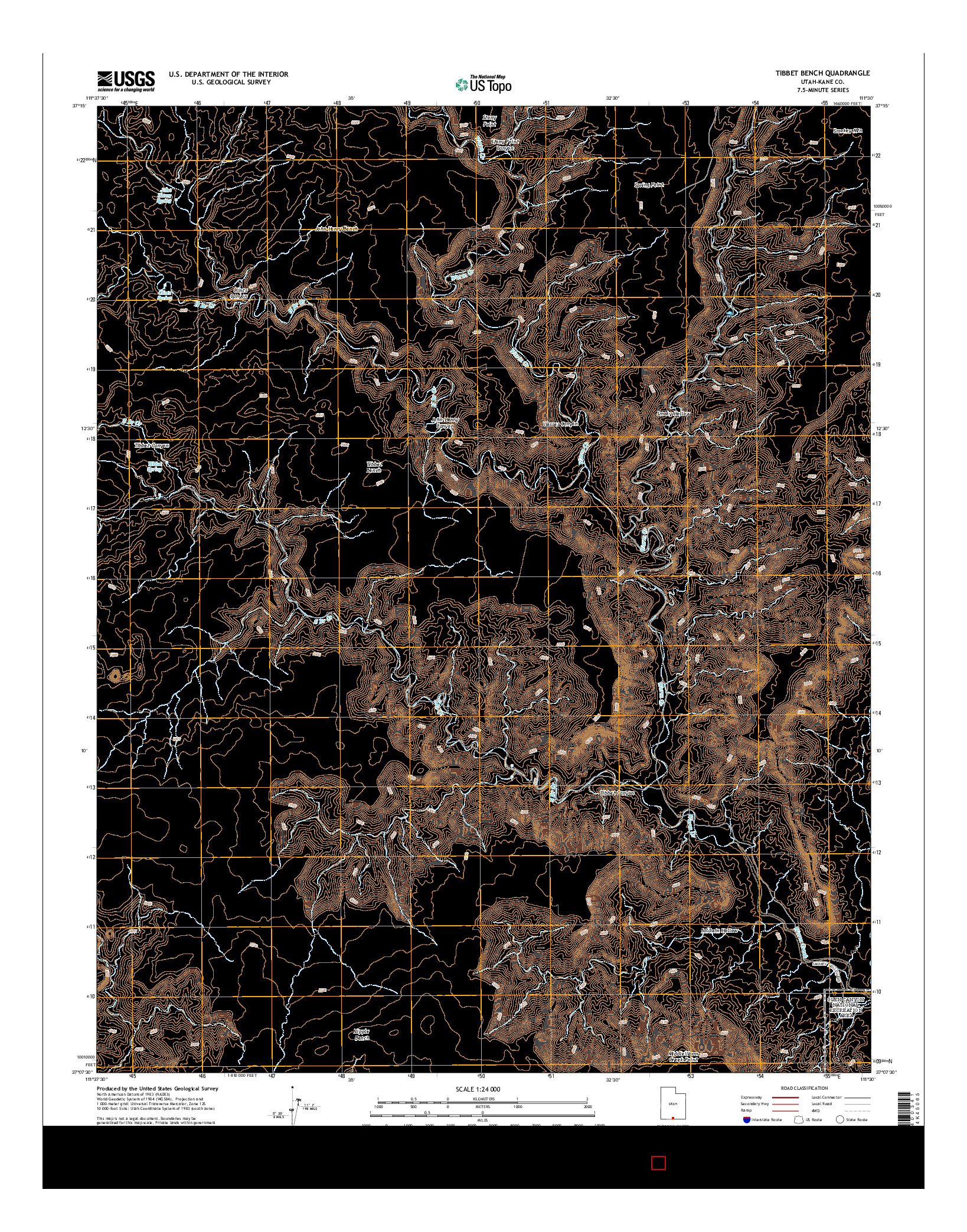 USGS US TOPO 7.5-MINUTE MAP FOR TIBBET BENCH, UT 2014