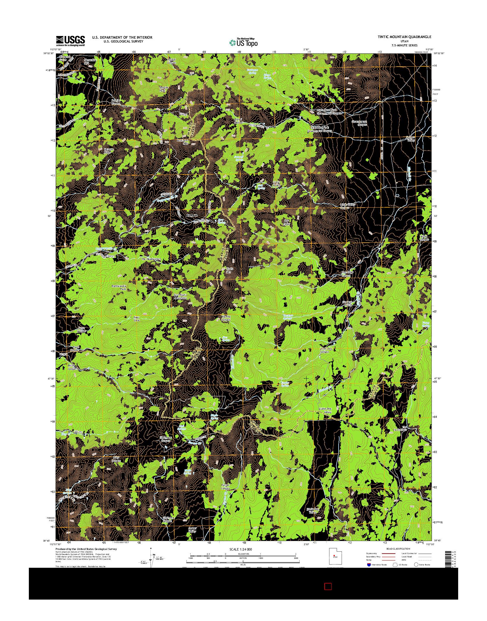 USGS US TOPO 7.5-MINUTE MAP FOR TINTIC MOUNTAIN, UT 2014