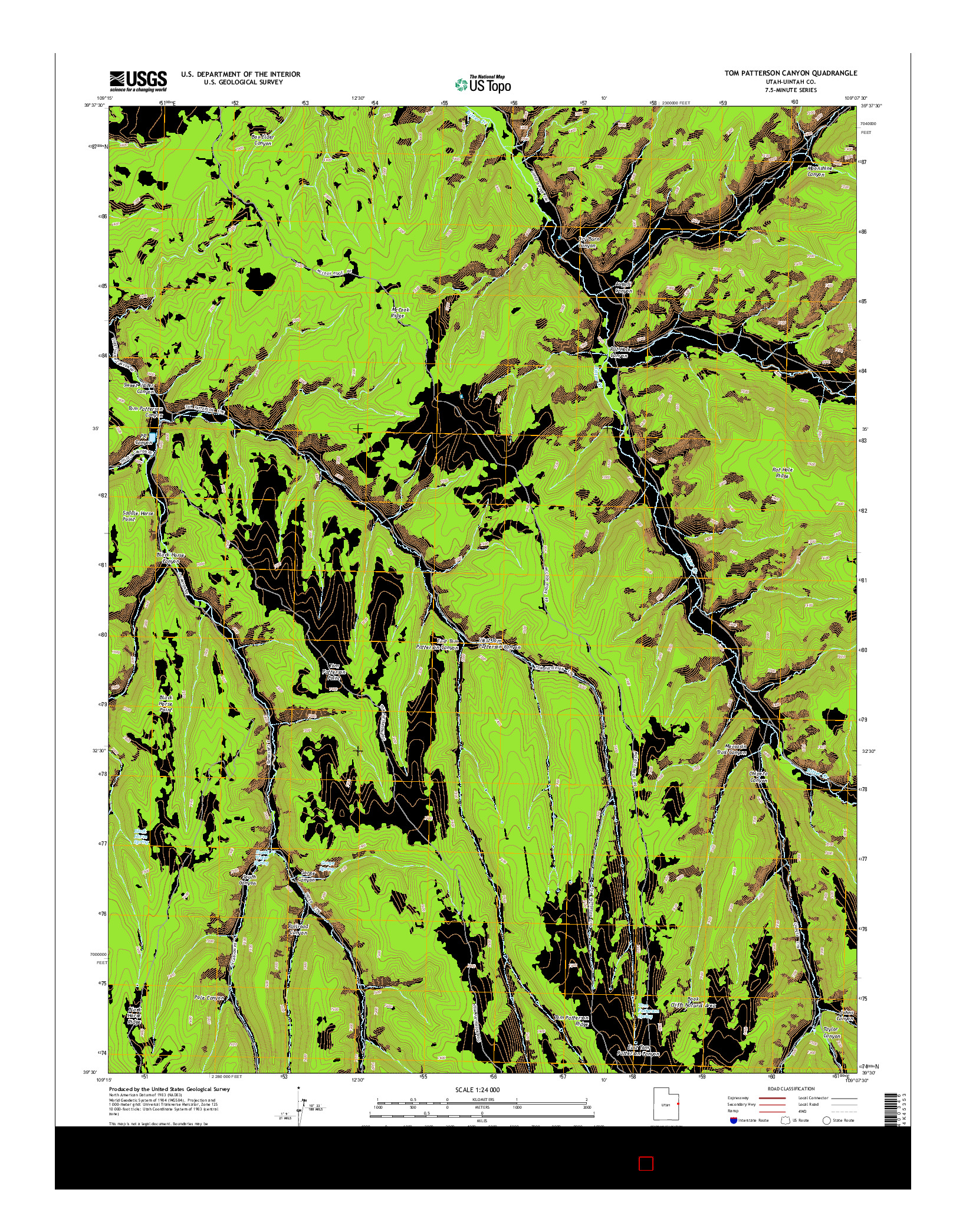 USGS US TOPO 7.5-MINUTE MAP FOR TOM PATTERSON CANYON, UT 2014