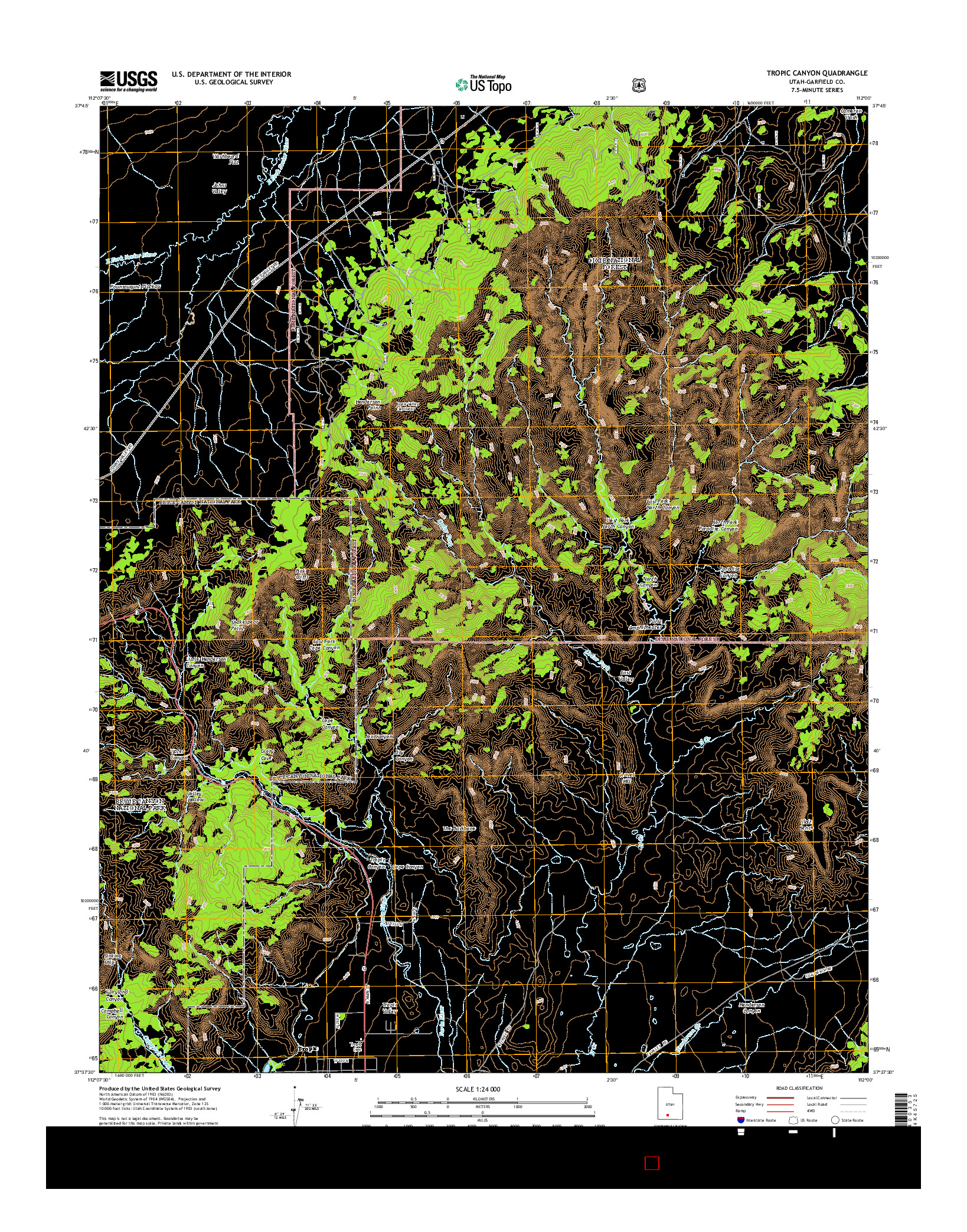 USGS US TOPO 7.5-MINUTE MAP FOR TROPIC CANYON, UT 2014