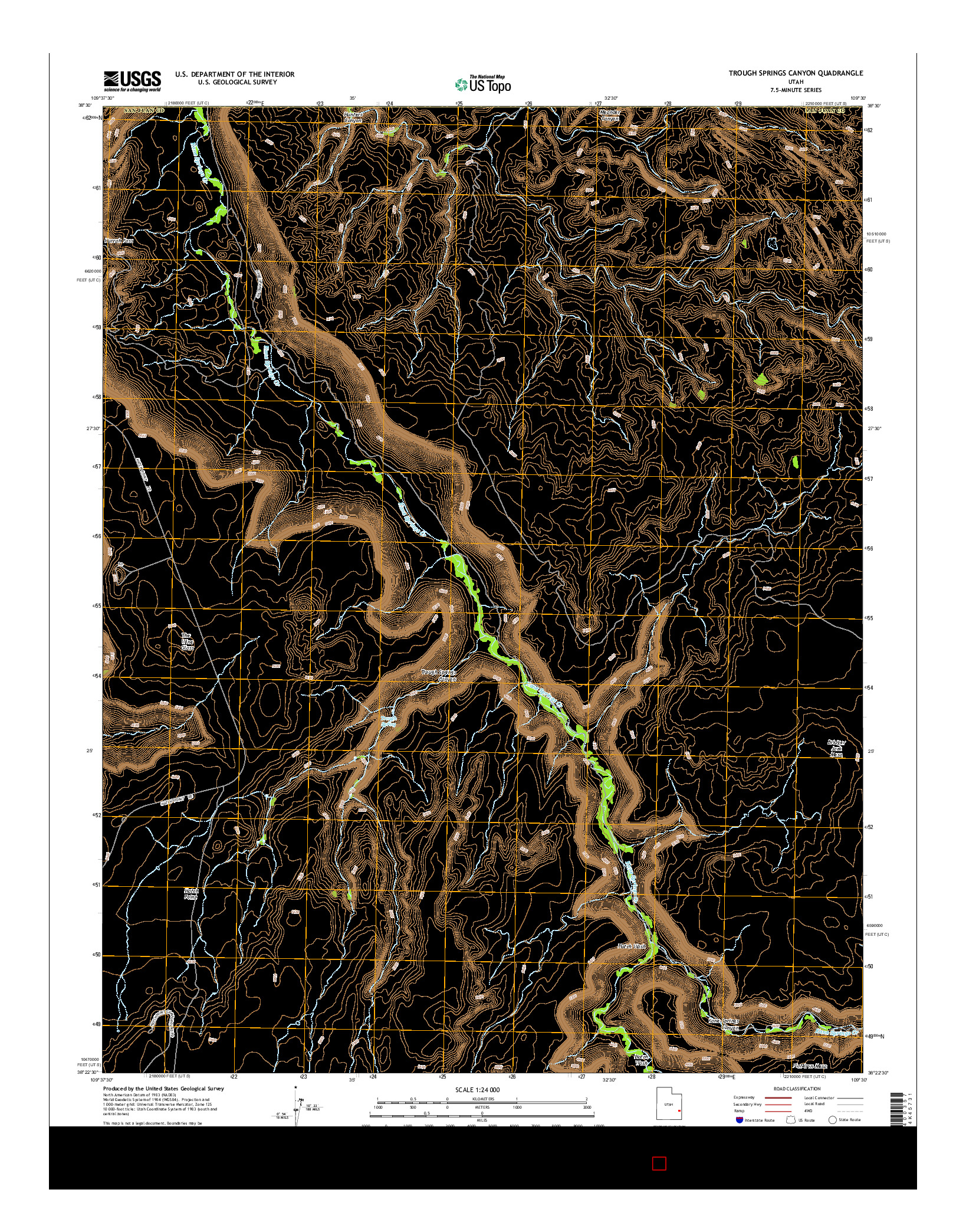 USGS US TOPO 7.5-MINUTE MAP FOR TROUGH SPRINGS CANYON, UT 2014