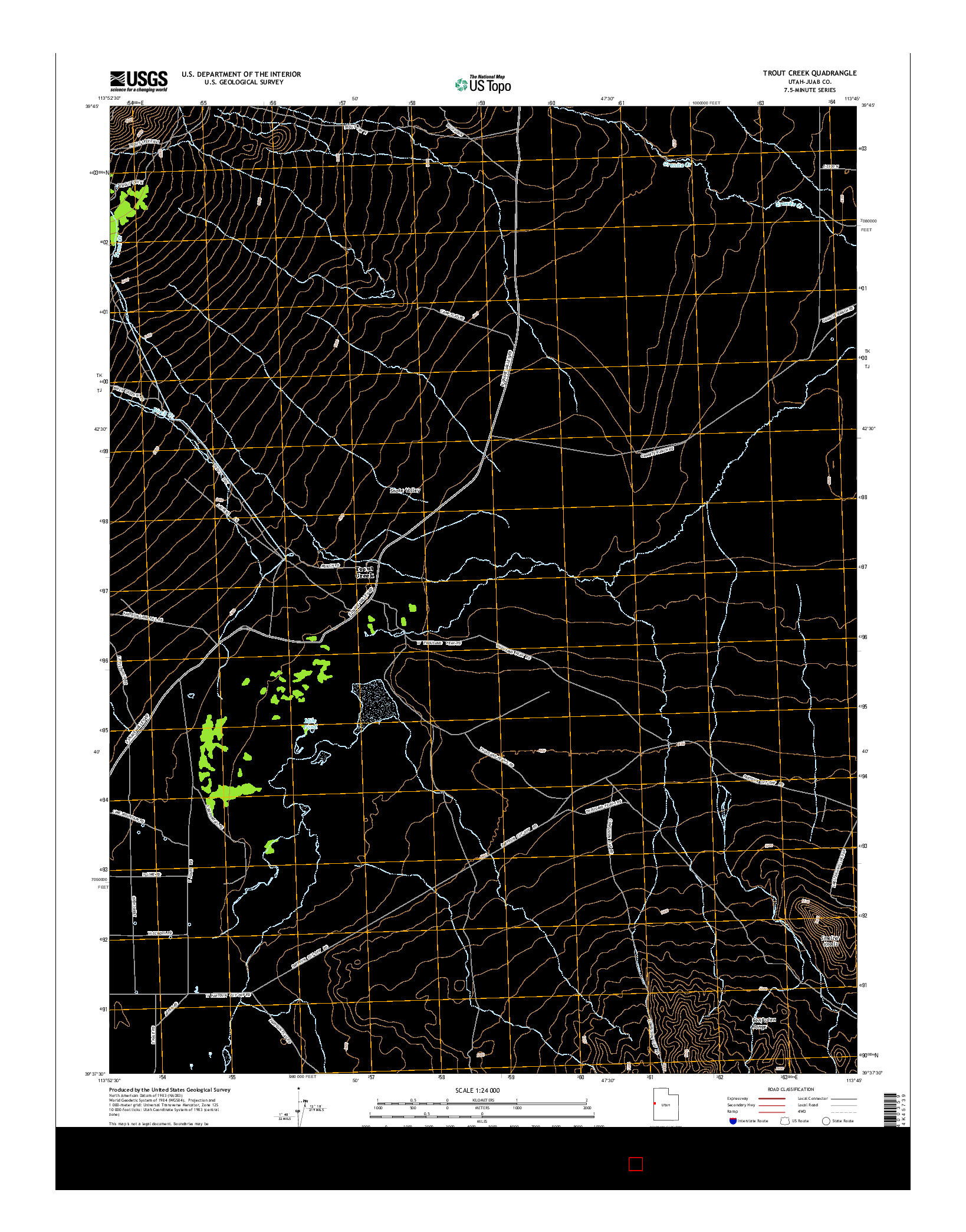 USGS US TOPO 7.5-MINUTE MAP FOR TROUT CREEK, UT 2014