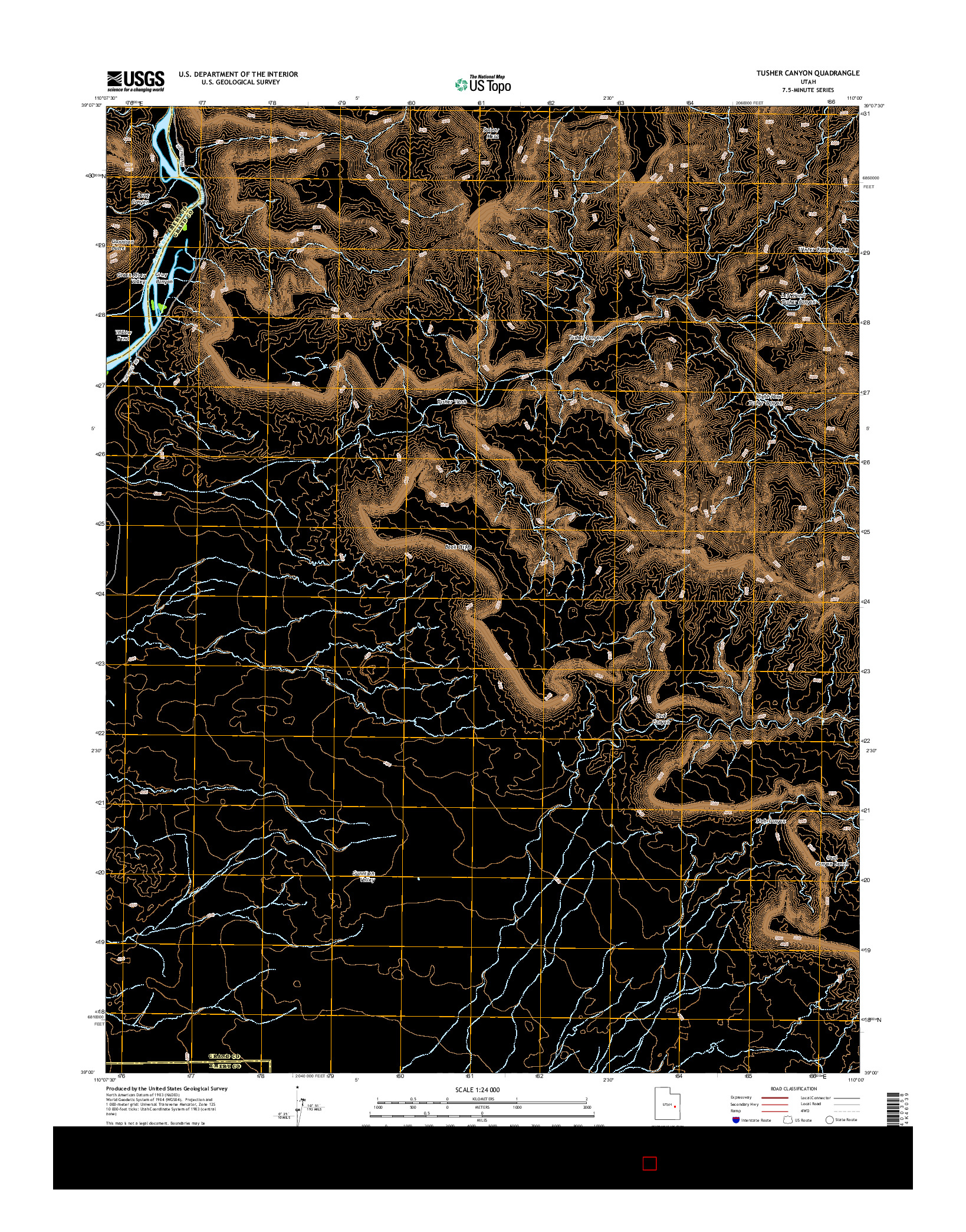 USGS US TOPO 7.5-MINUTE MAP FOR TUSHER CANYON, UT 2014