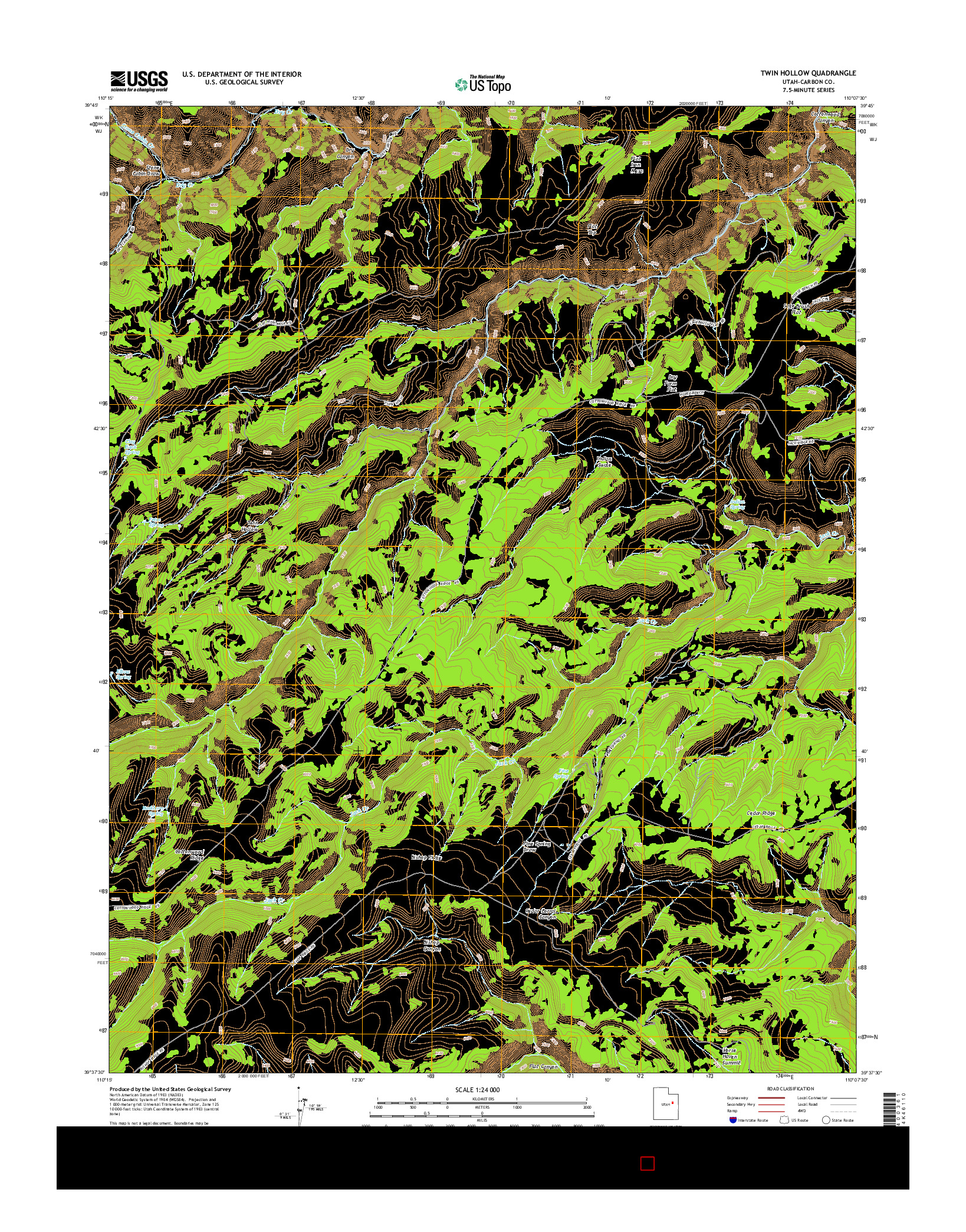 USGS US TOPO 7.5-MINUTE MAP FOR TWIN HOLLOW, UT 2014