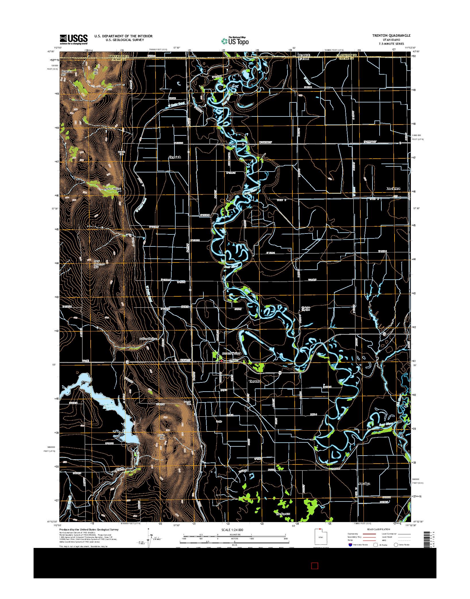 USGS US TOPO 7.5-MINUTE MAP FOR TRENTON, UT-ID 2014