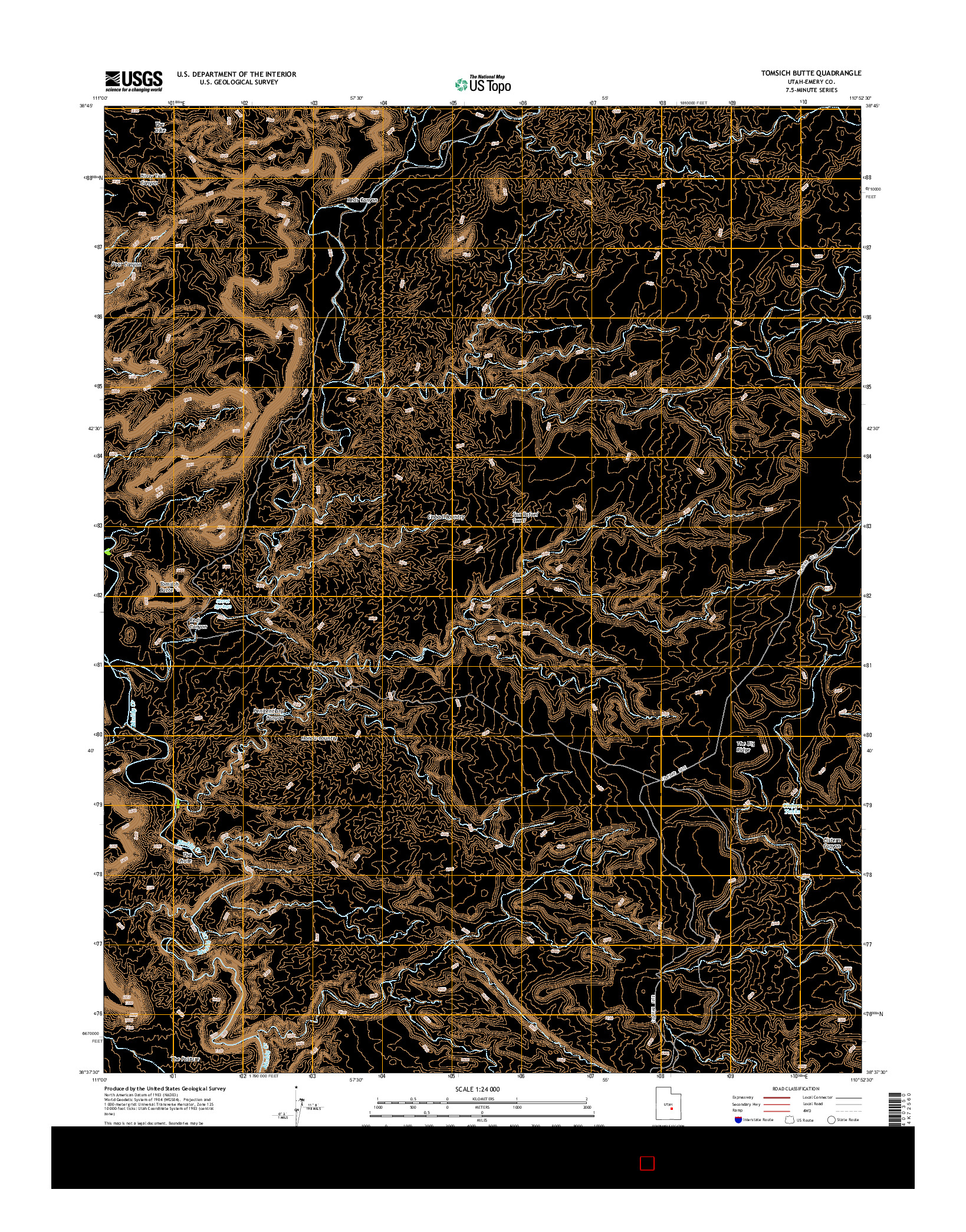 USGS US TOPO 7.5-MINUTE MAP FOR TOMSICH BUTTE, UT 2014