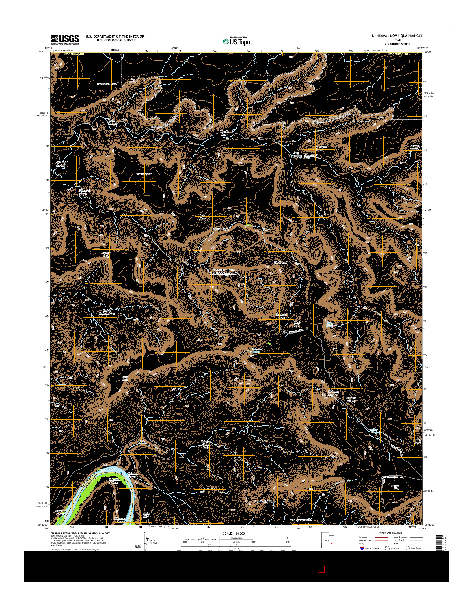 USGS US TOPO 7.5-MINUTE MAP FOR UPHEAVAL DOME, UT 2014