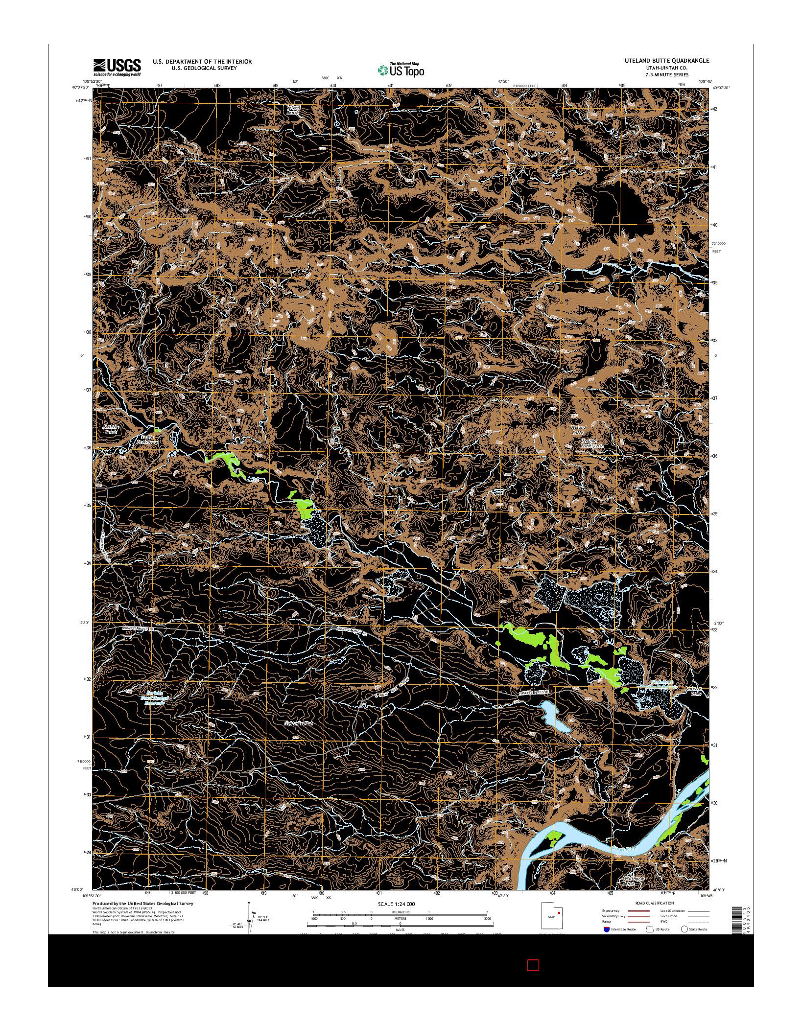 USGS US TOPO 7.5-MINUTE MAP FOR UTELAND BUTTE, UT 2014