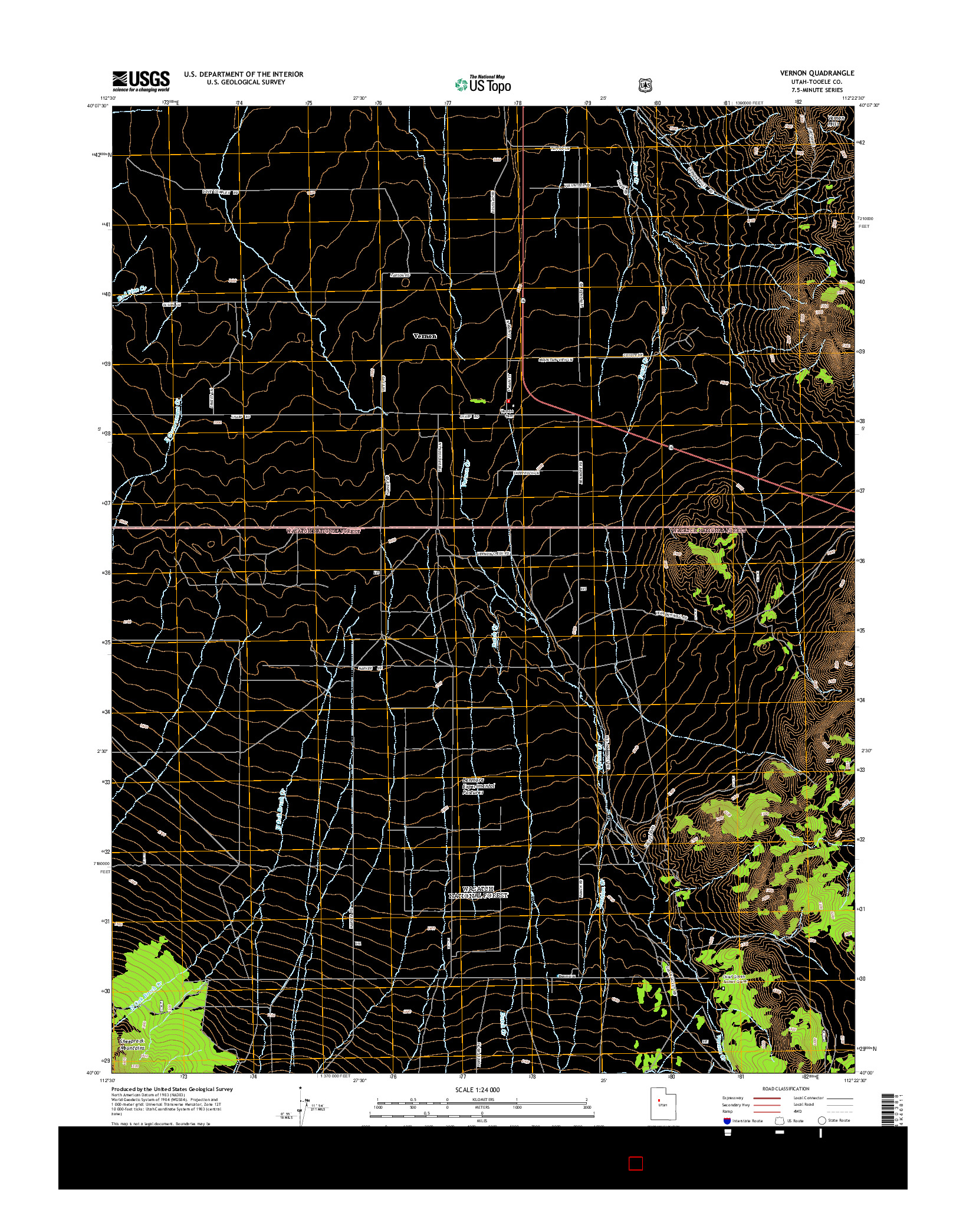 USGS US TOPO 7.5-MINUTE MAP FOR VERNON, UT 2014