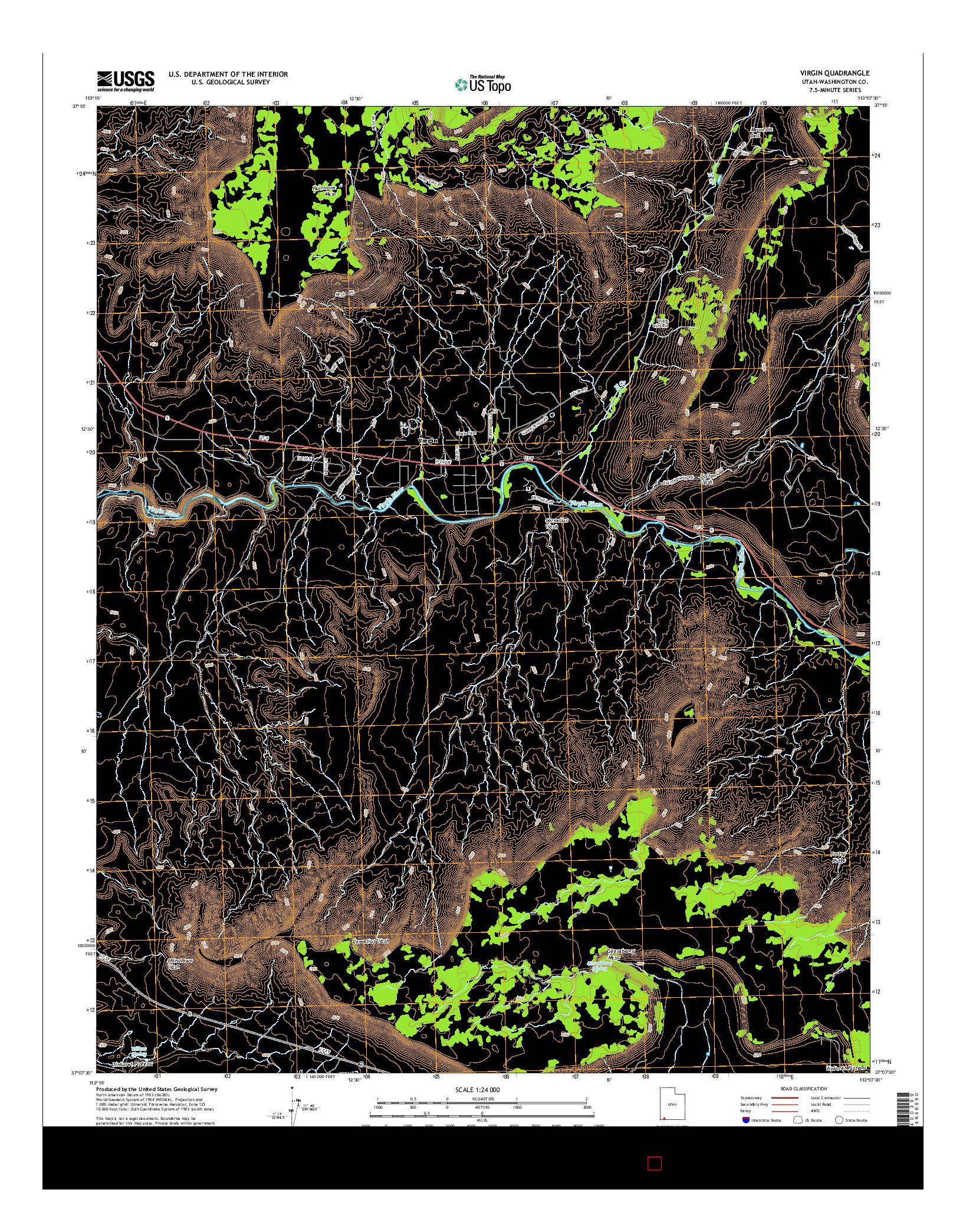 USGS US TOPO 7.5-MINUTE MAP FOR VIRGIN, UT 2014