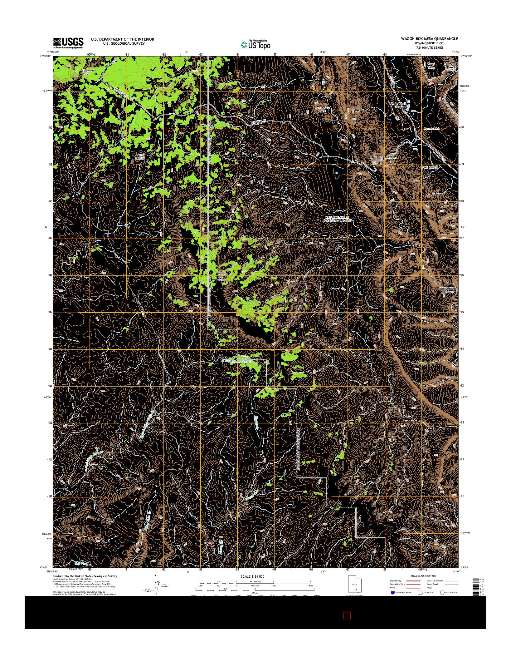 USGS US TOPO 7.5-MINUTE MAP FOR WAGON BOX MESA, UT 2014