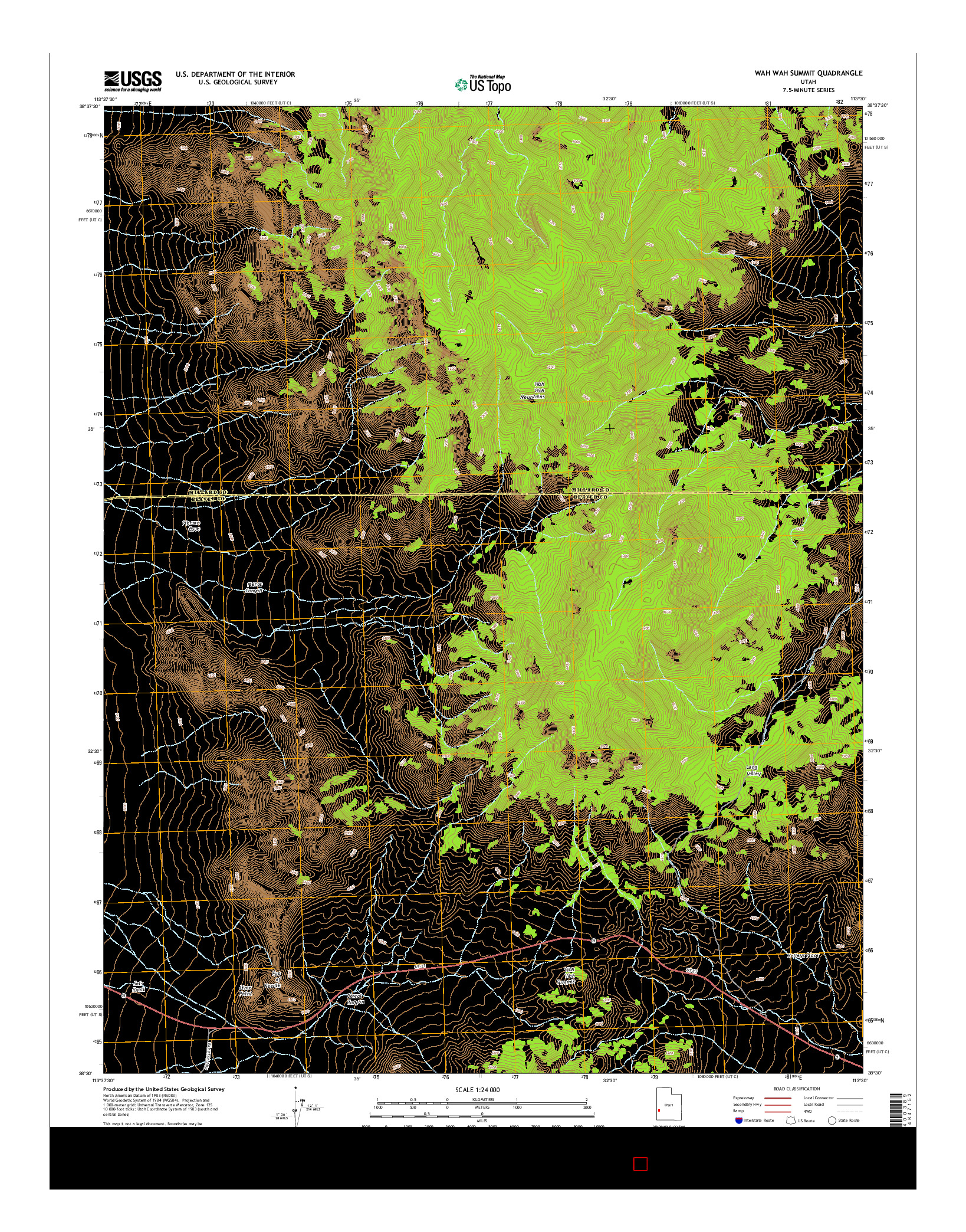 USGS US TOPO 7.5-MINUTE MAP FOR WAH WAH SUMMIT, UT 2014