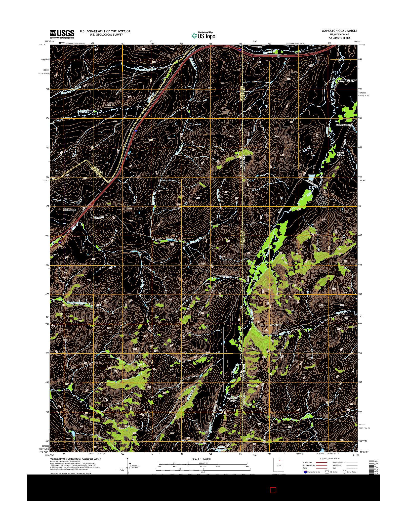 USGS US TOPO 7.5-MINUTE MAP FOR WAHSATCH, UT-WY 2014