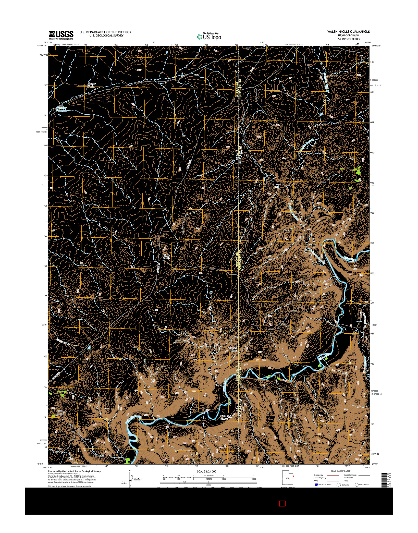 USGS US TOPO 7.5-MINUTE MAP FOR WALSH KNOLLS, UT-CO 2014