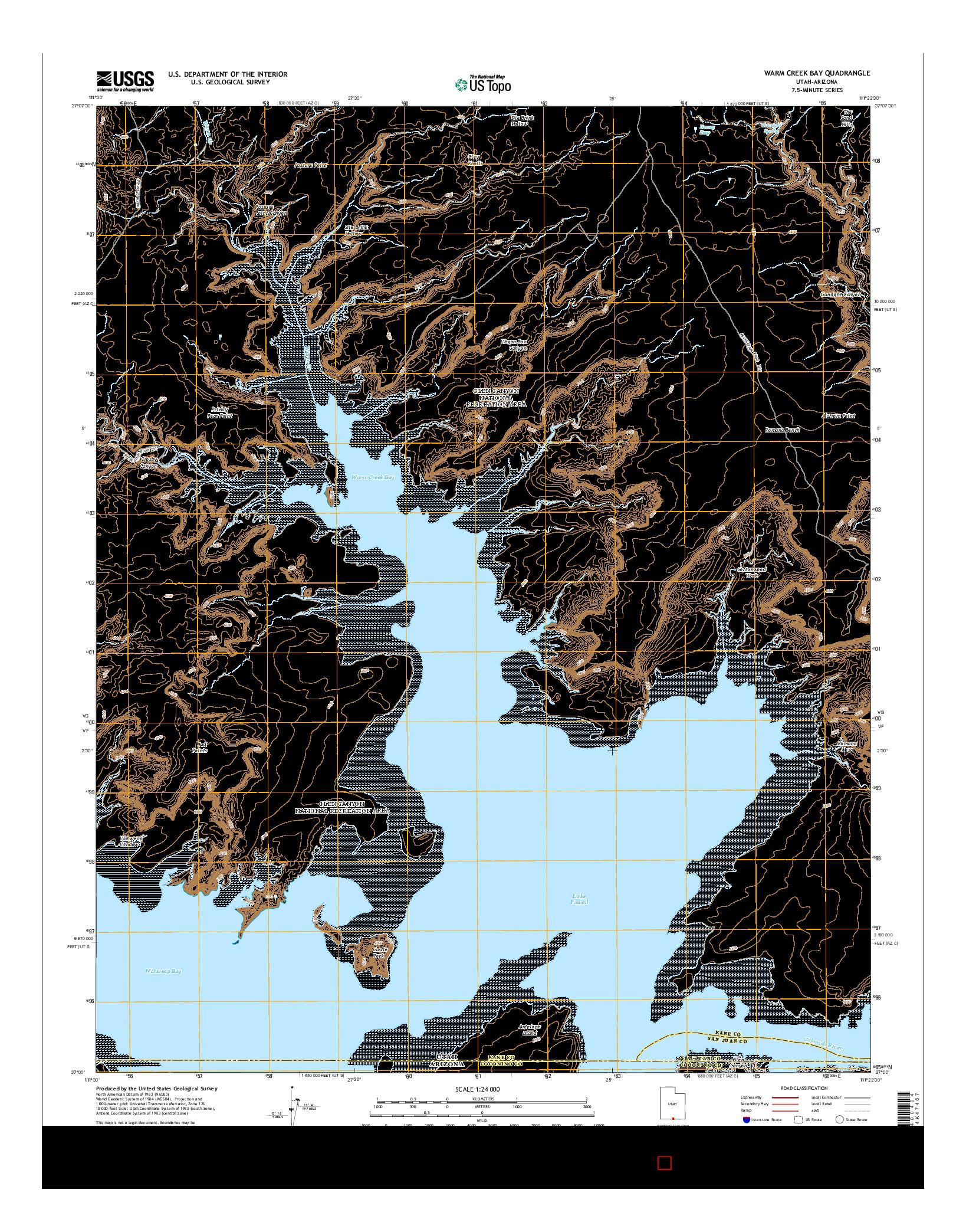 USGS US TOPO 7.5-MINUTE MAP FOR WARM CREEK BAY, UT-AZ 2014