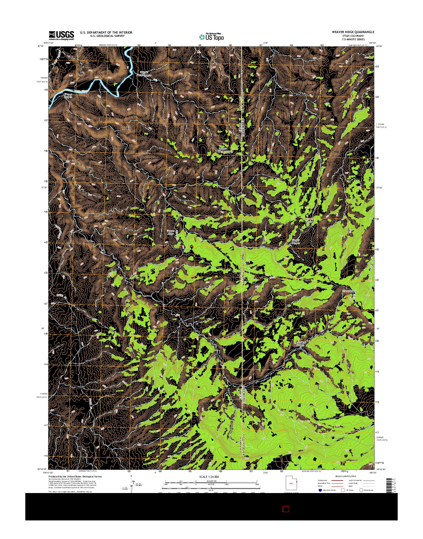USGS US TOPO 7.5-MINUTE MAP FOR WEAVER RIDGE, UT-CO 2014