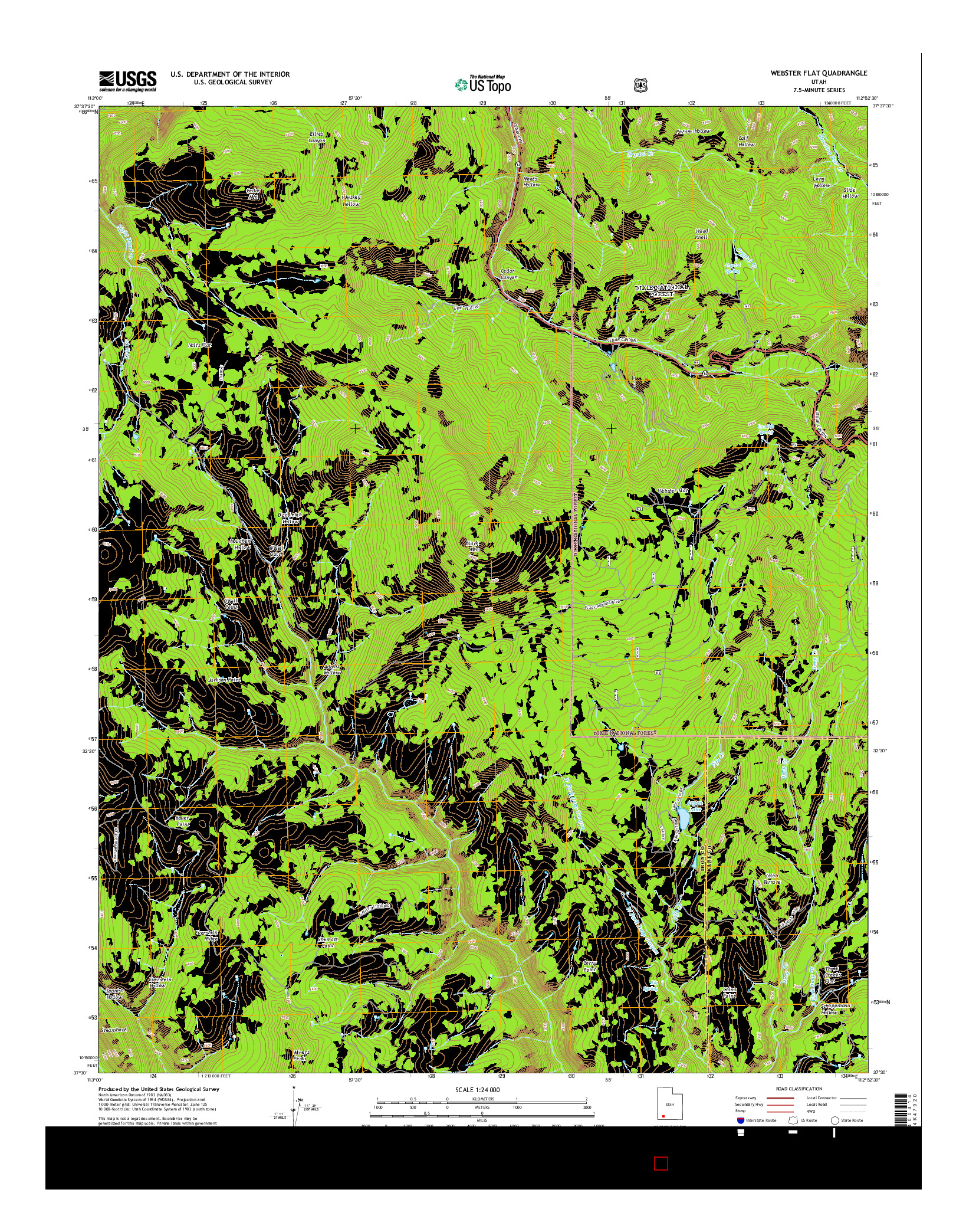 USGS US TOPO 7.5-MINUTE MAP FOR WEBSTER FLAT, UT 2014