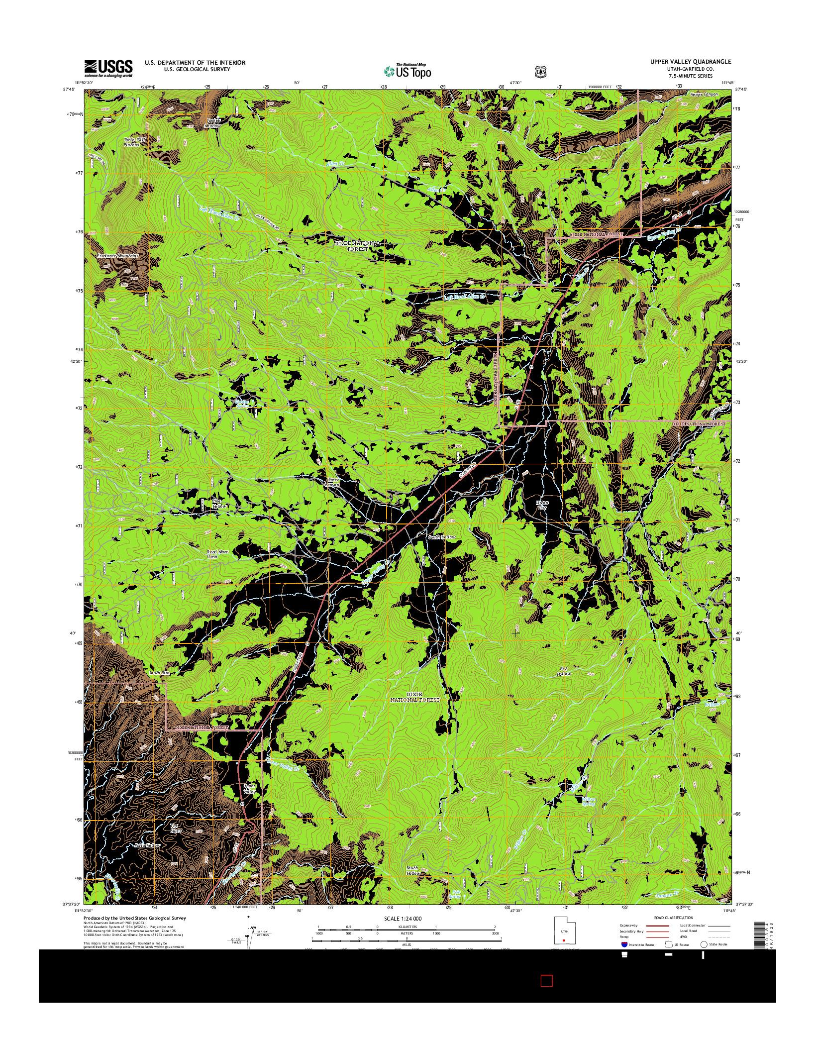 USGS US TOPO 7.5-MINUTE MAP FOR UPPER VALLEY, UT 2014