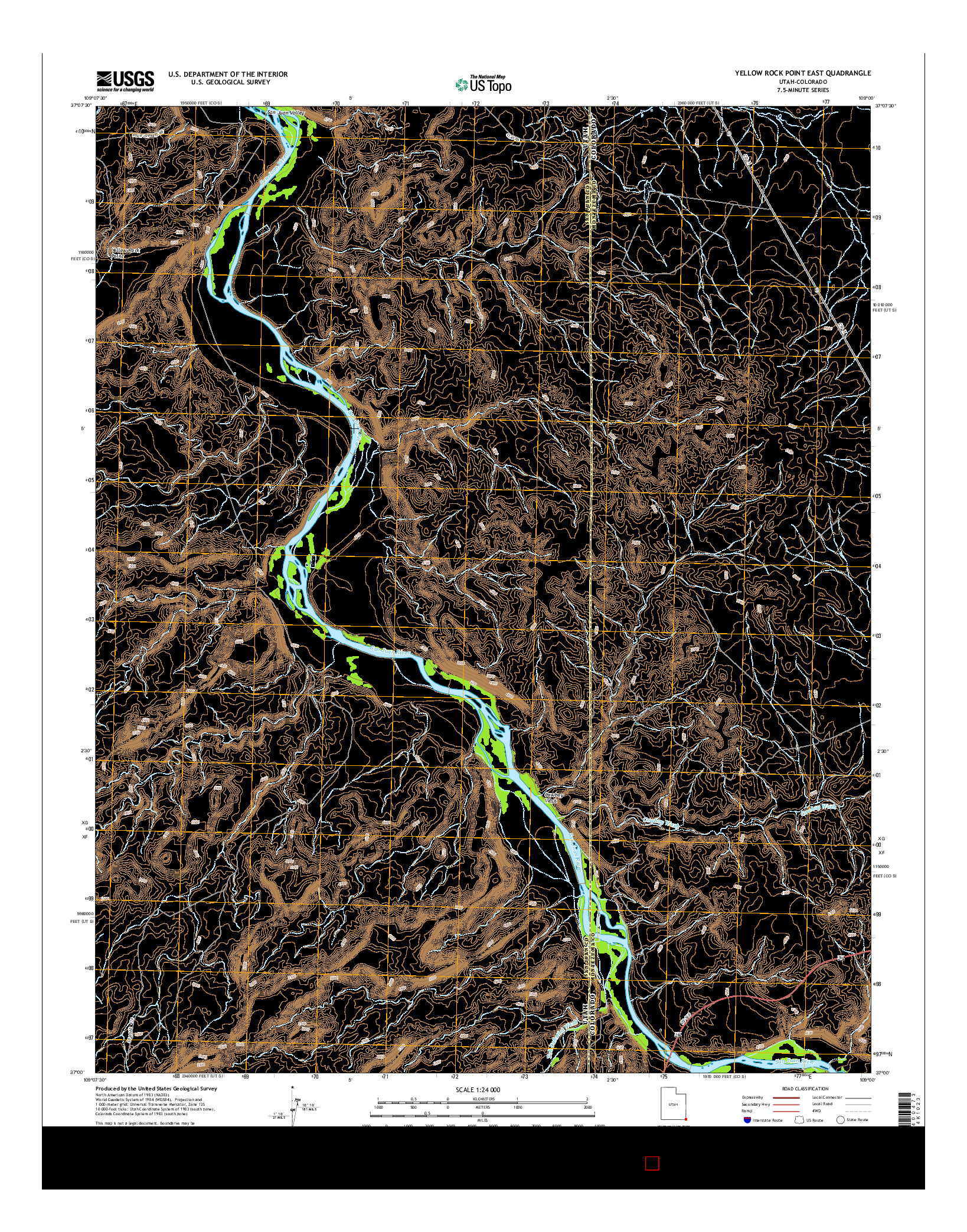 USGS US TOPO 7.5-MINUTE MAP FOR YELLOW ROCK POINT EAST, UT-CO 2014