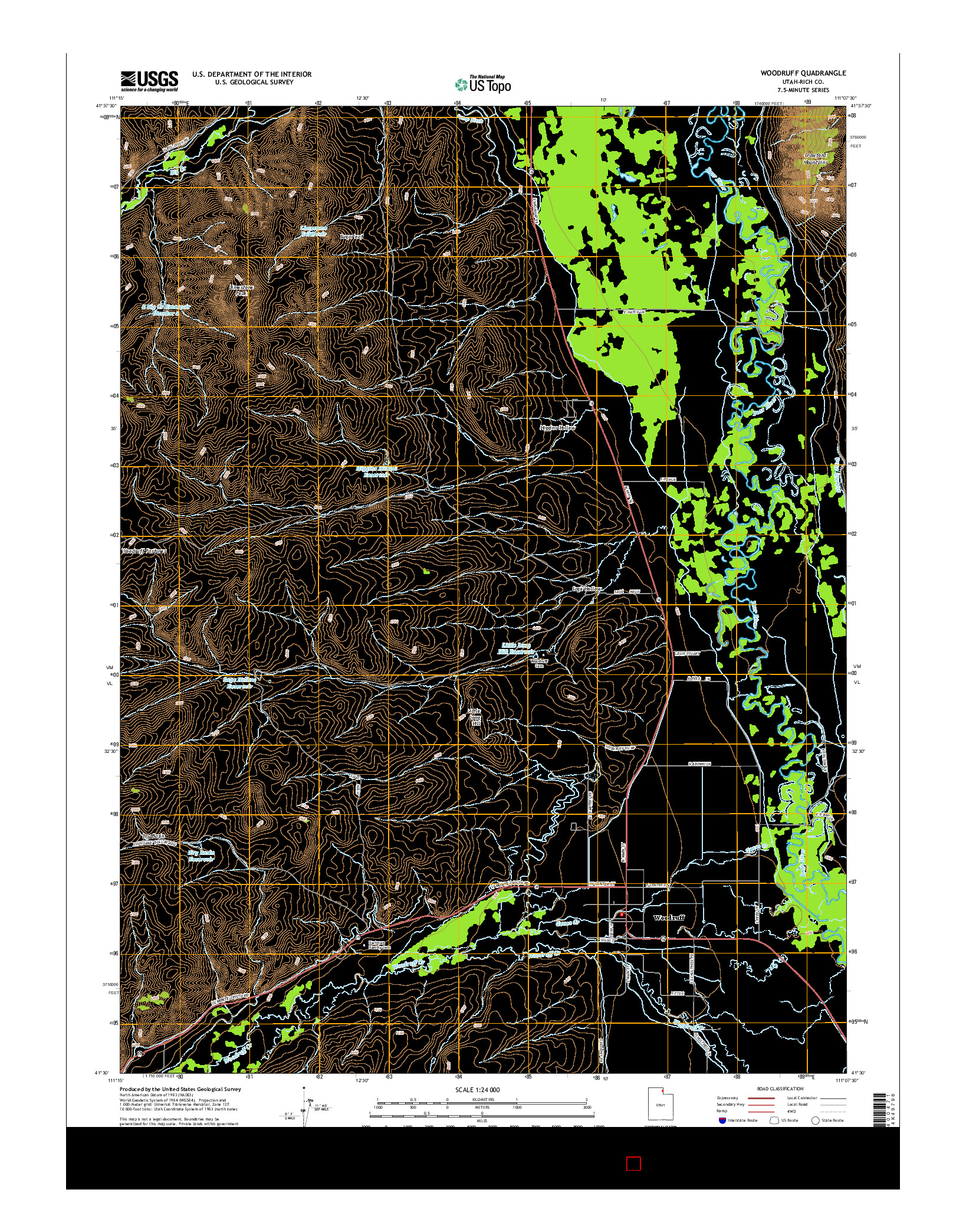 USGS US TOPO 7.5-MINUTE MAP FOR WOODRUFF, UT 2014