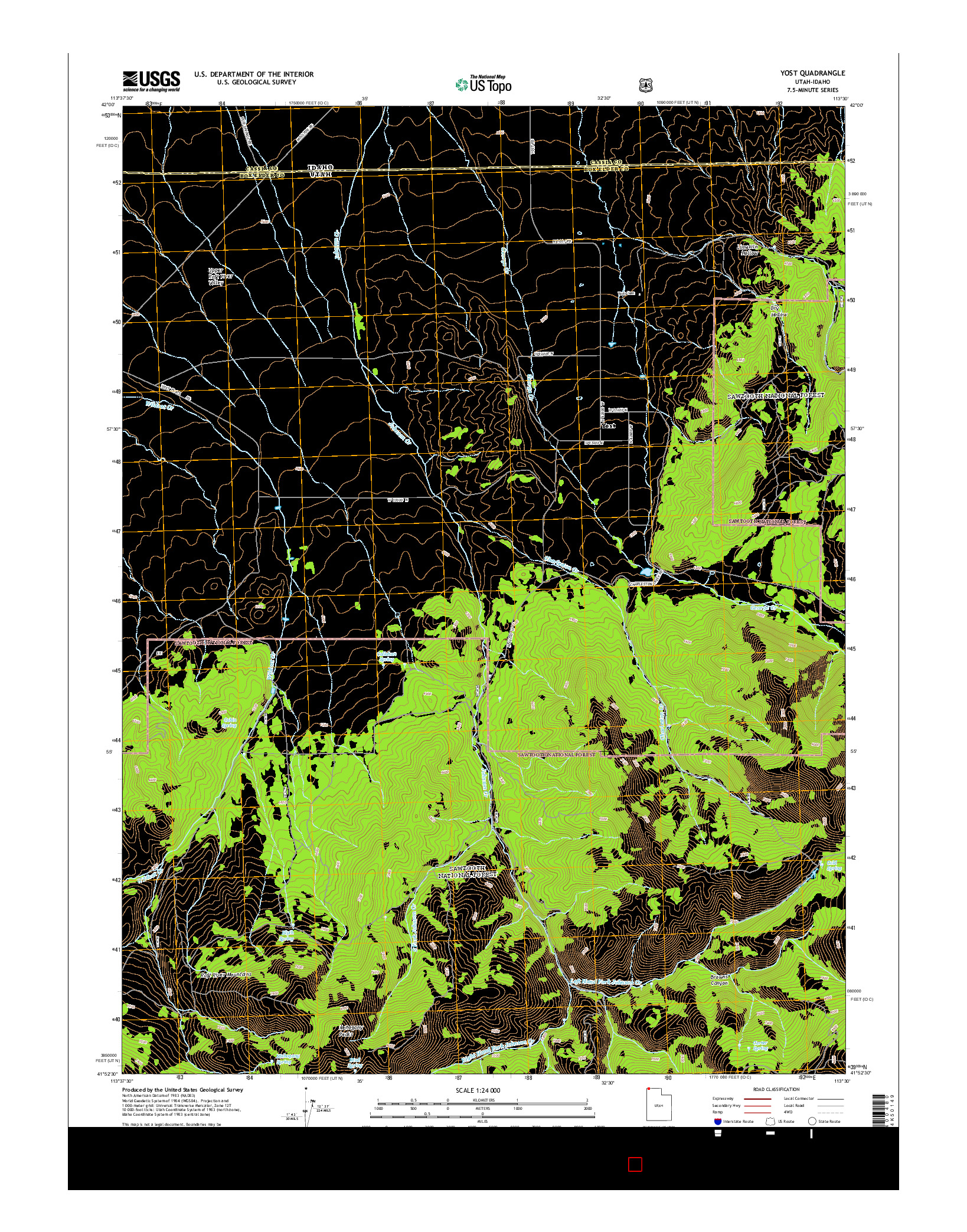 USGS US TOPO 7.5-MINUTE MAP FOR YOST, UT-ID 2014