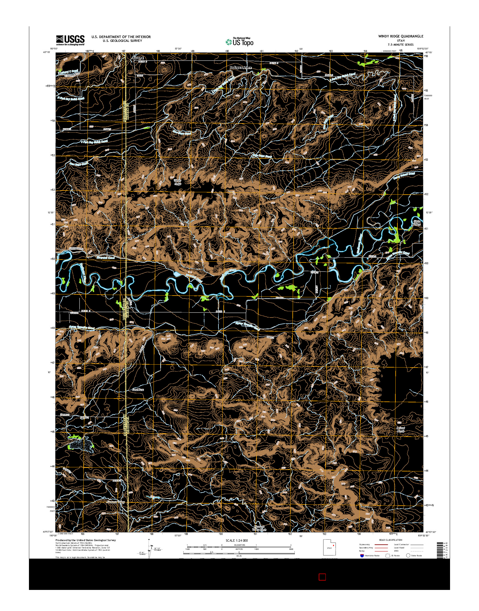 USGS US TOPO 7.5-MINUTE MAP FOR WINDY RIDGE, UT 2014