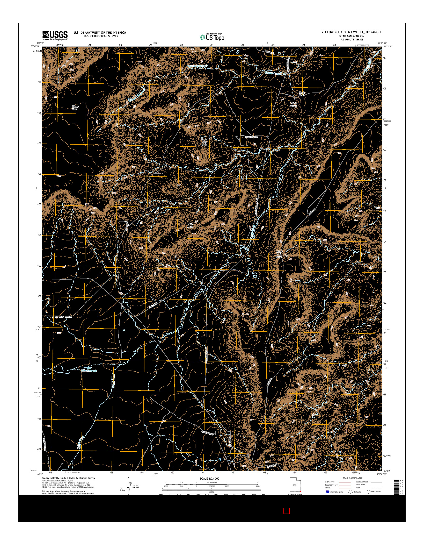 USGS US TOPO 7.5-MINUTE MAP FOR YELLOW ROCK POINT WEST, UT 2014