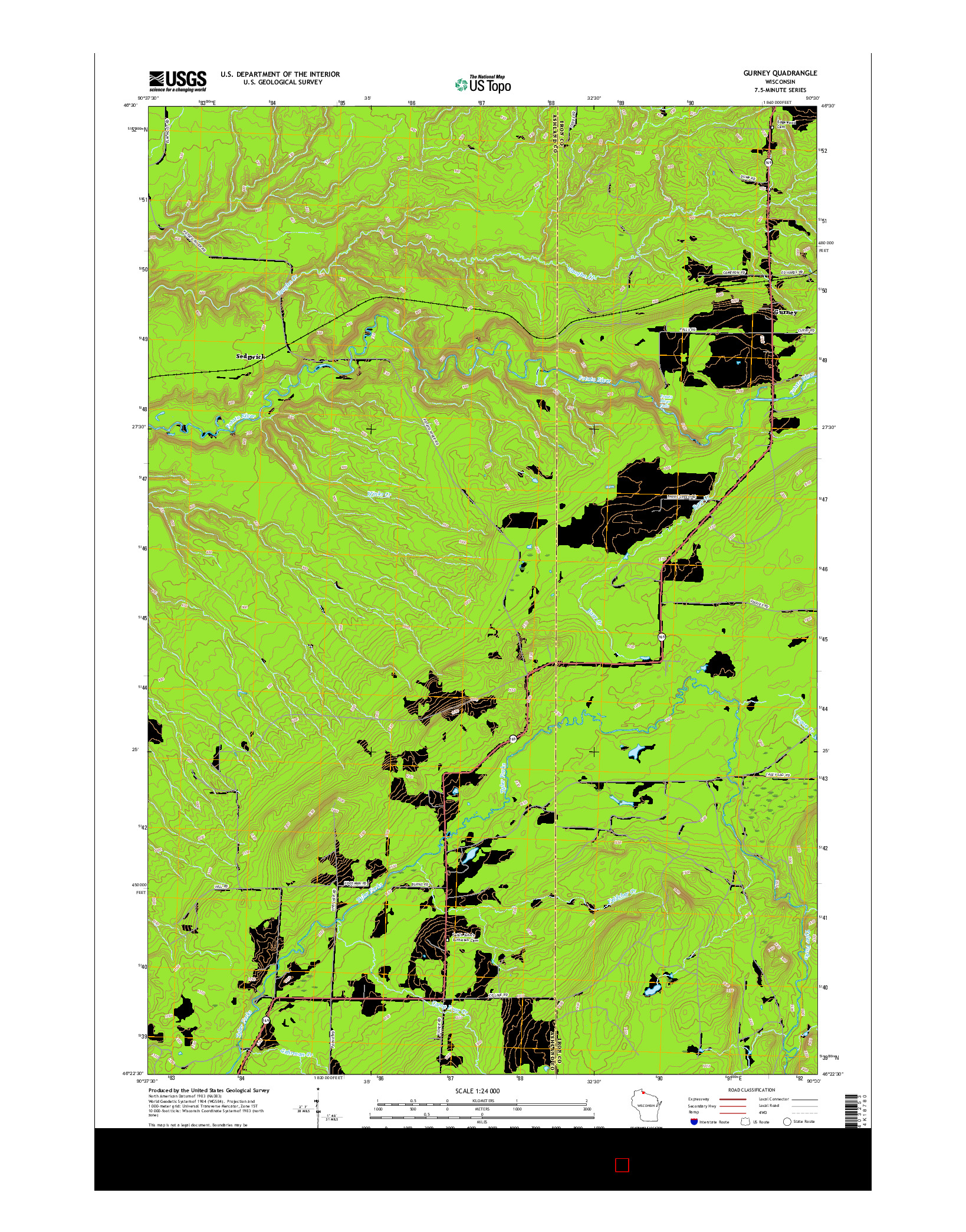 USGS US TOPO 7.5-MINUTE MAP FOR GURNEY, WI 2015