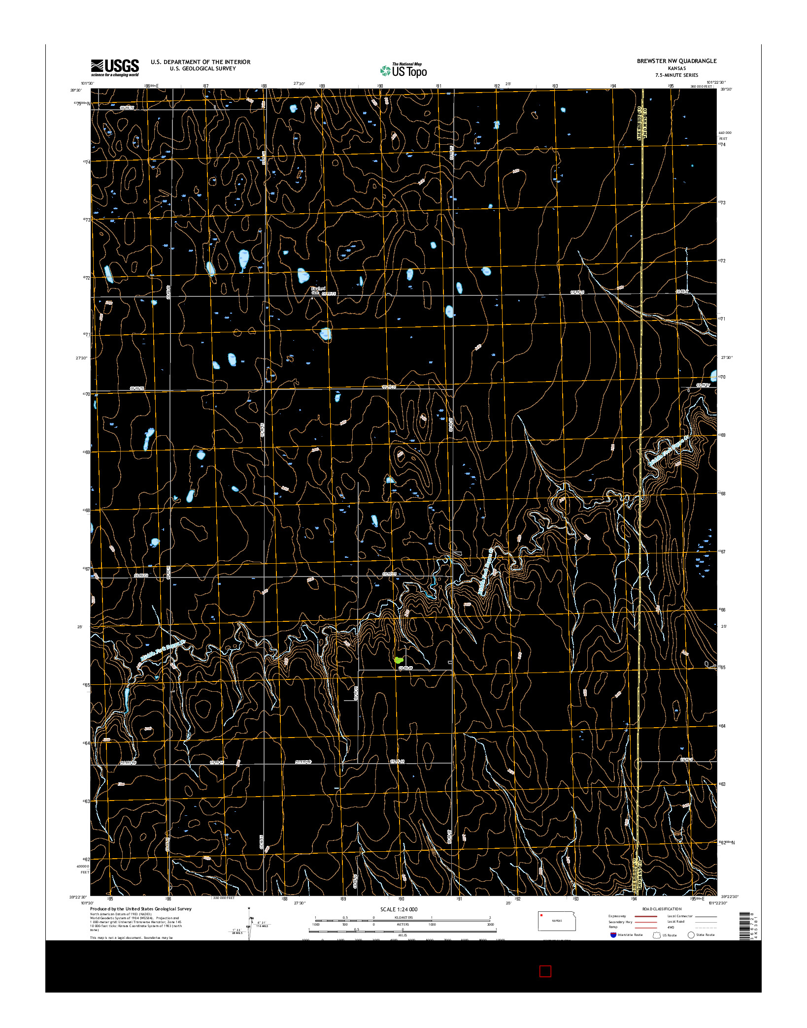 USGS US TOPO 7.5-MINUTE MAP FOR BREWSTER NW, KS 2015