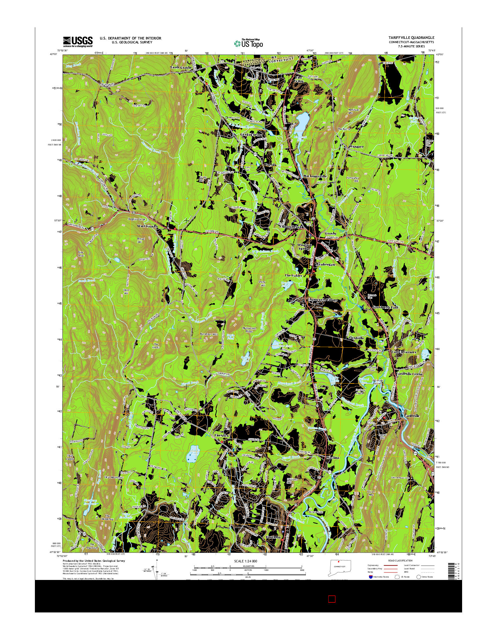 USGS US TOPO 7.5-MINUTE MAP FOR TARIFFVILLE, CT-MA 2015