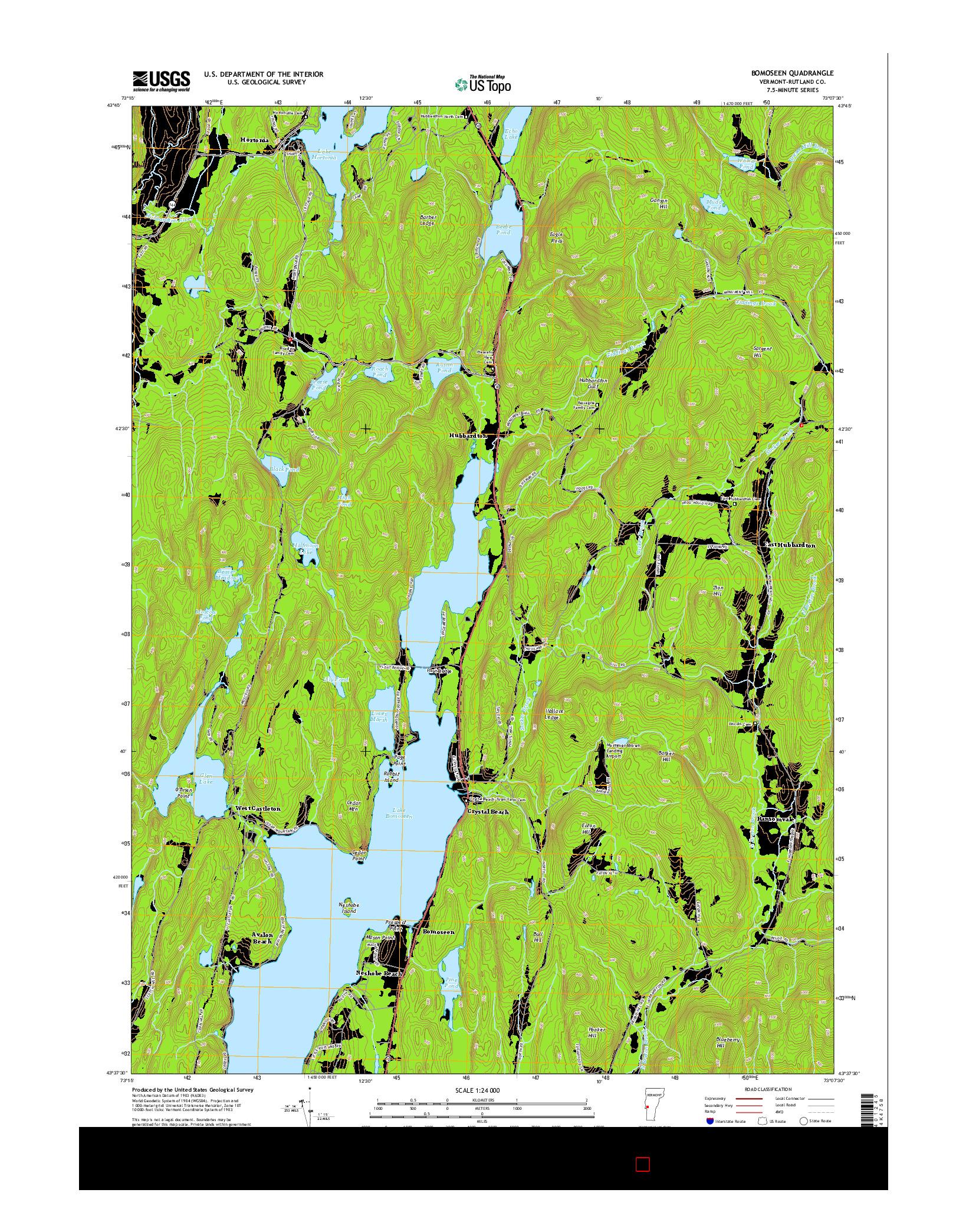 USGS US TOPO 7.5-MINUTE MAP FOR BOMOSEEN, VT 2015