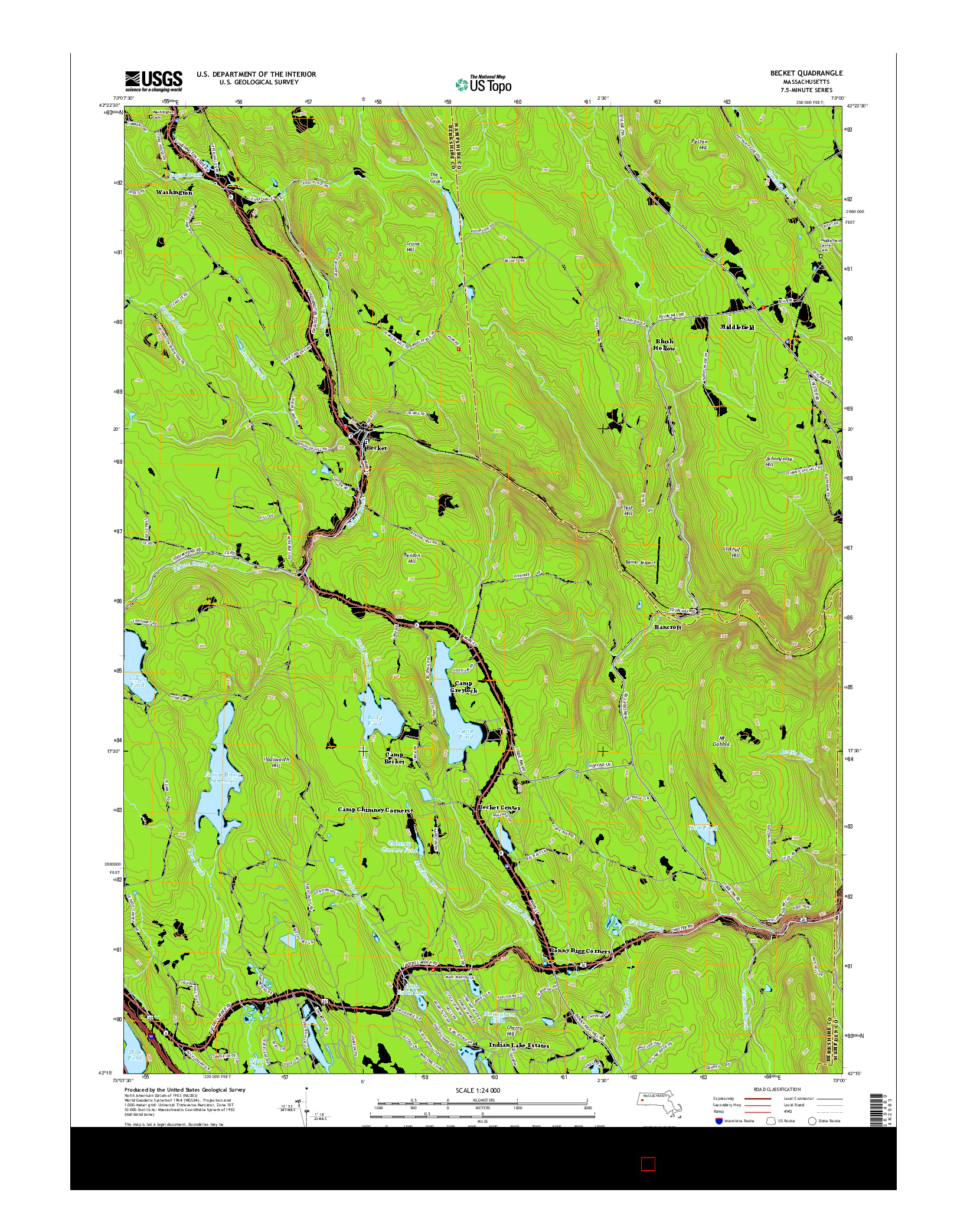 USGS US TOPO 7.5-MINUTE MAP FOR BECKET, MA 2015