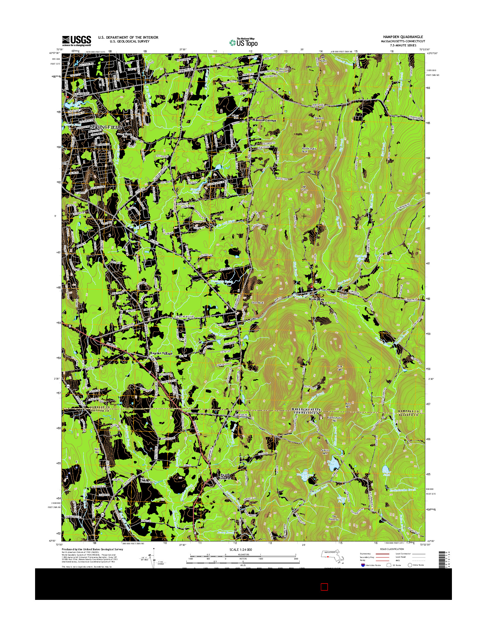 USGS US TOPO 7.5-MINUTE MAP FOR HAMPDEN, MA-CT 2015