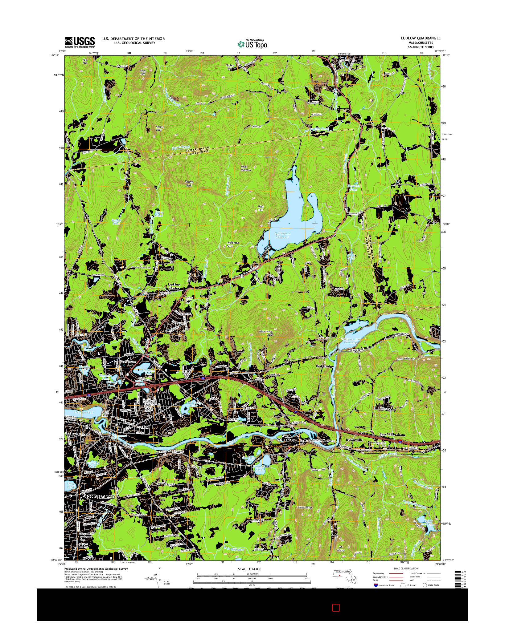 USGS US TOPO 7.5-MINUTE MAP FOR LUDLOW, MA 2015