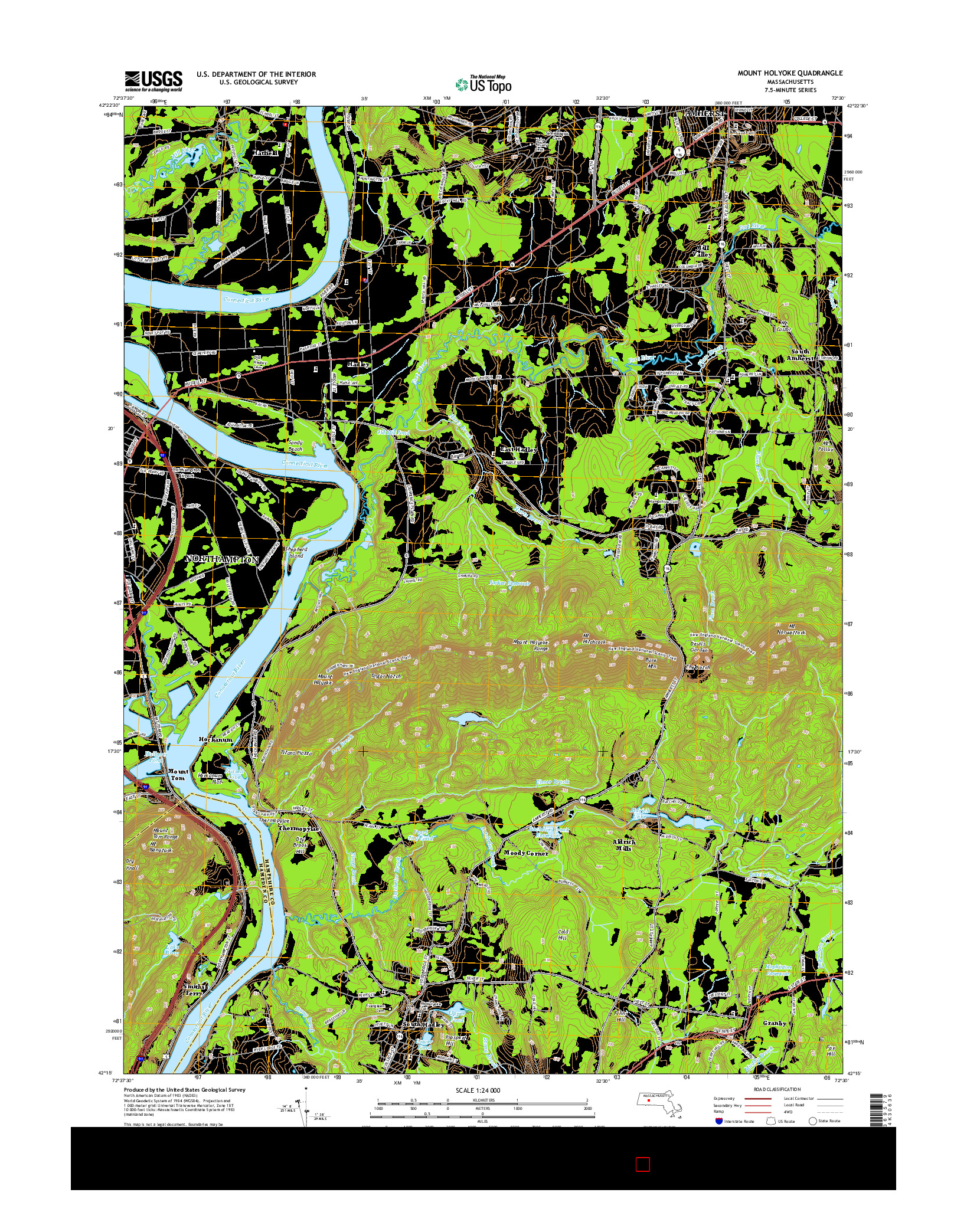 USGS US TOPO 7.5-MINUTE MAP FOR MOUNT HOLYOKE, MA 2015