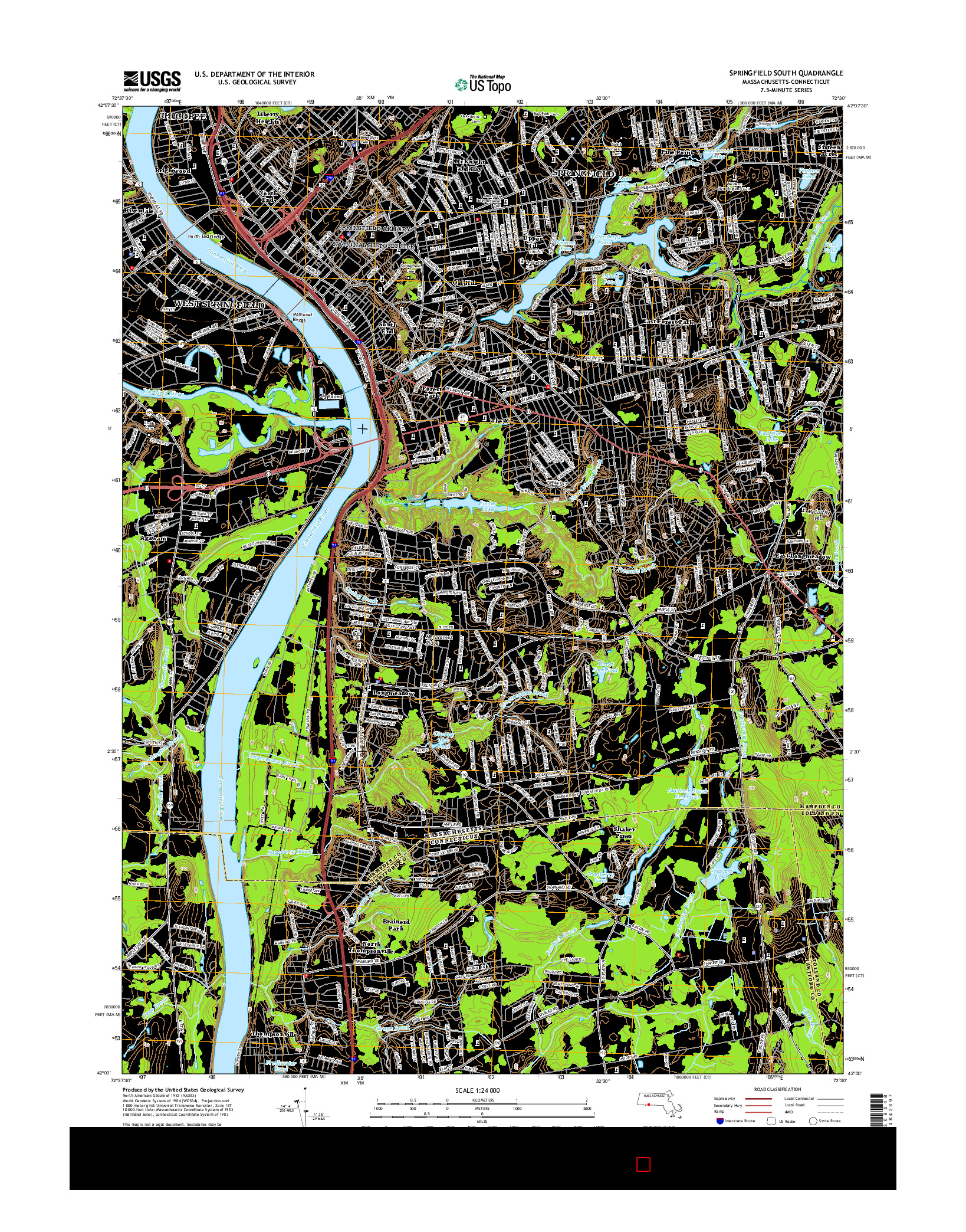 USGS US TOPO 7.5-MINUTE MAP FOR SPRINGFIELD SOUTH, MA-CT 2015