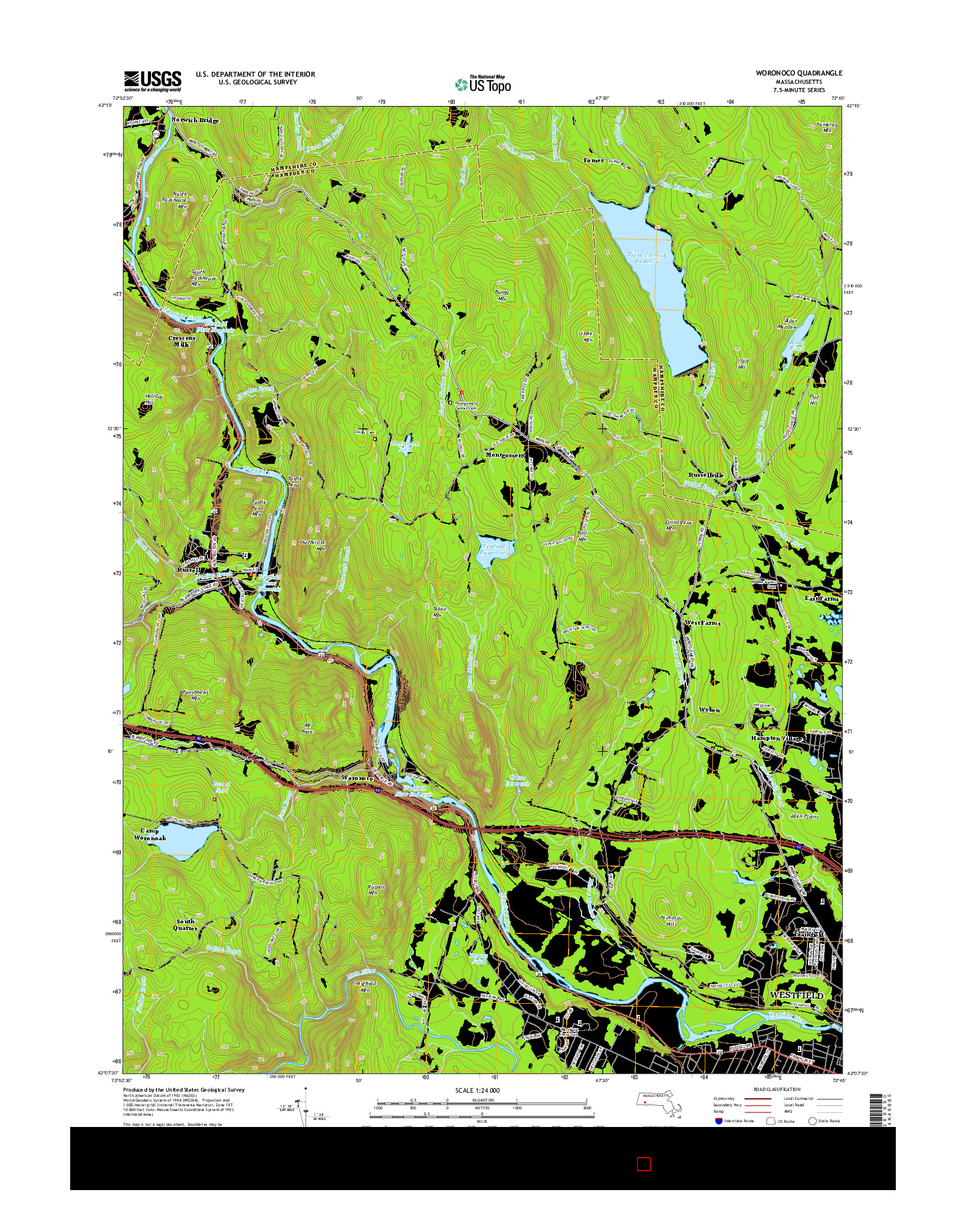 USGS US TOPO 7.5-MINUTE MAP FOR WORONOCO, MA 2015