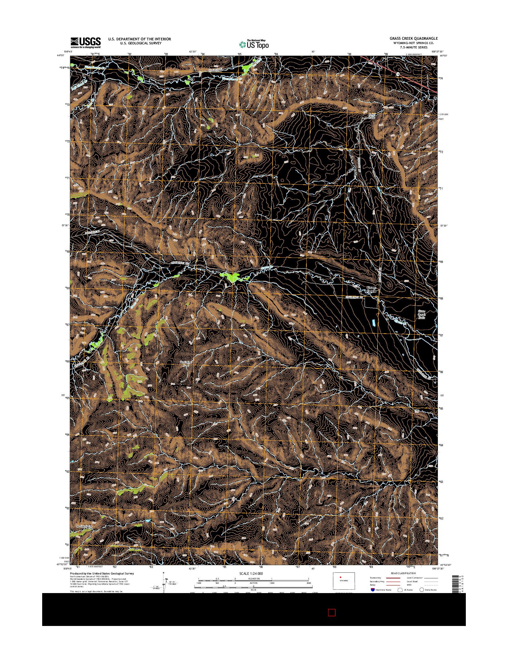 USGS US TOPO 7.5-MINUTE MAP FOR GRASS CREEK, WY 2015