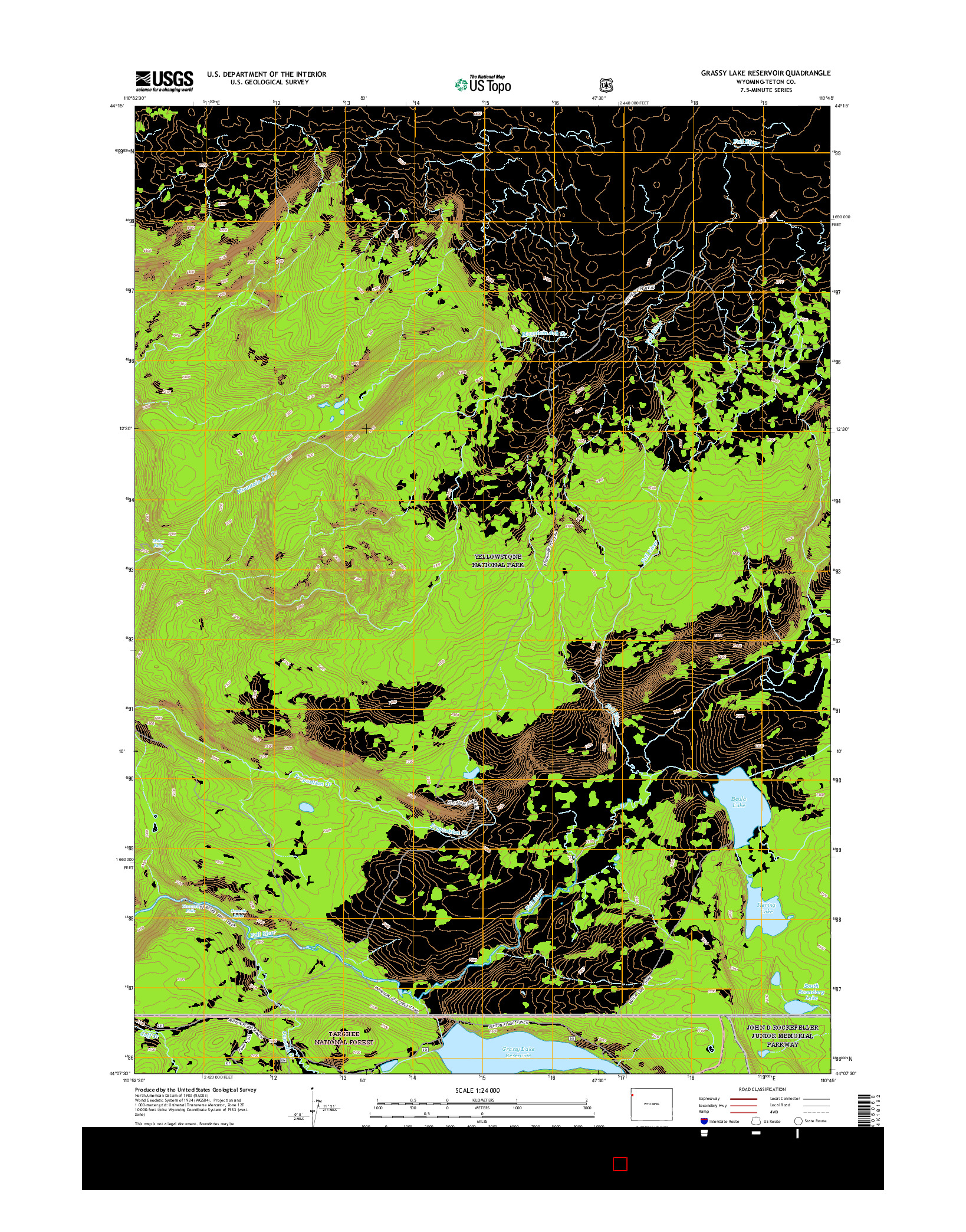 USGS US TOPO 7.5-MINUTE MAP FOR GRASSY LAKE RESERVOIR, WY 2015