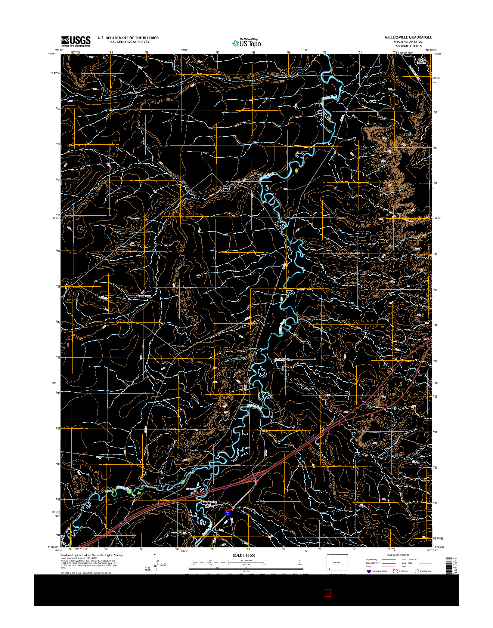 USGS US TOPO 7.5-MINUTE MAP FOR MILLERSVILLE, WY 2015