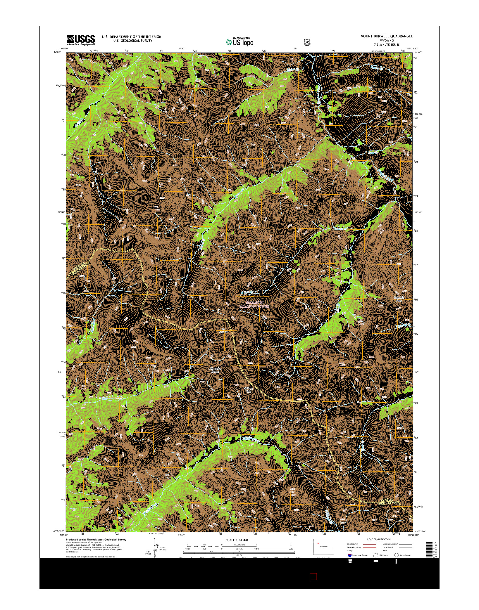 USGS US TOPO 7.5-MINUTE MAP FOR MOUNT BURWELL, WY 2015