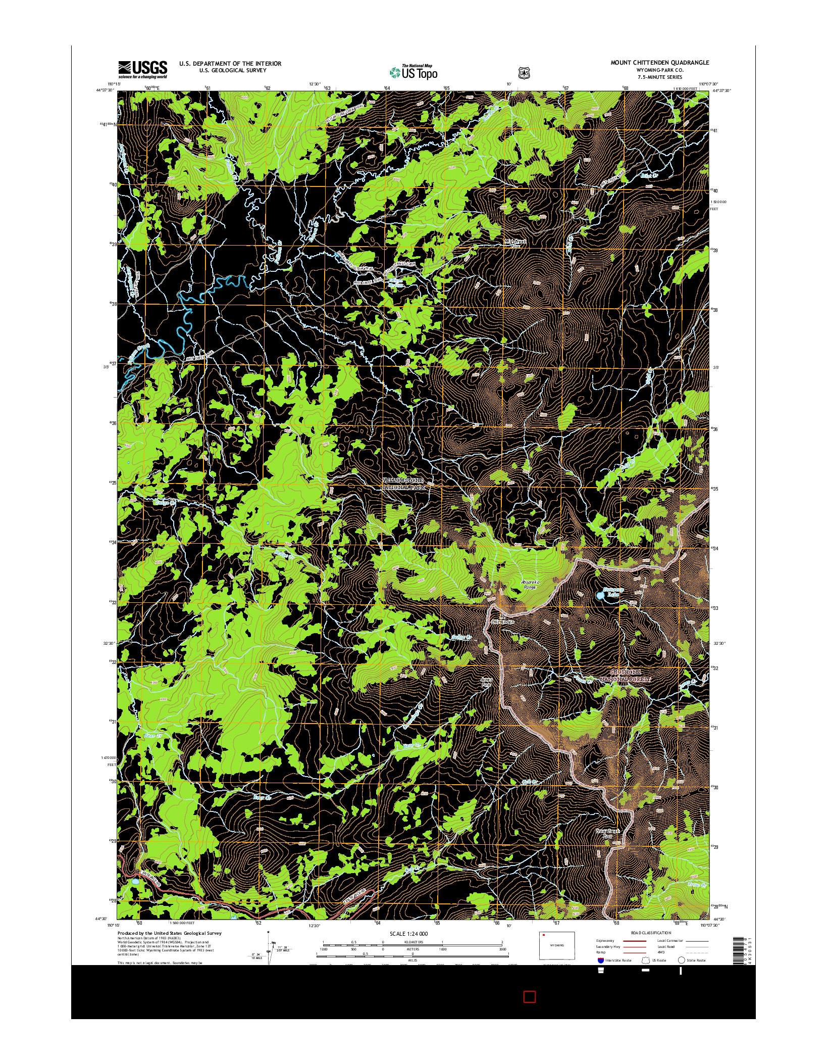 USGS US TOPO 7.5-MINUTE MAP FOR MOUNT CHITTENDEN, WY 2015