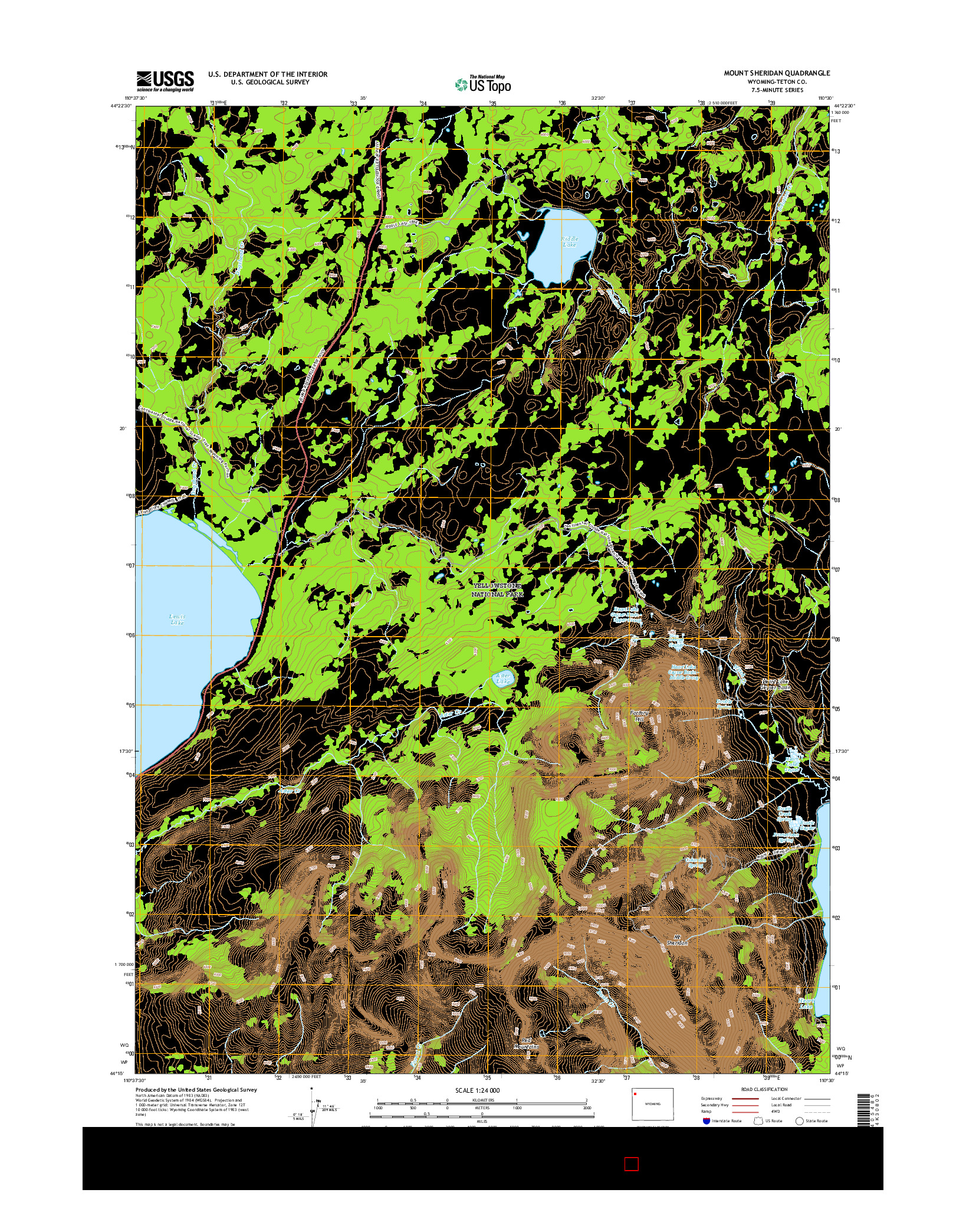 USGS US TOPO 7.5-MINUTE MAP FOR MOUNT SHERIDAN, WY 2015
