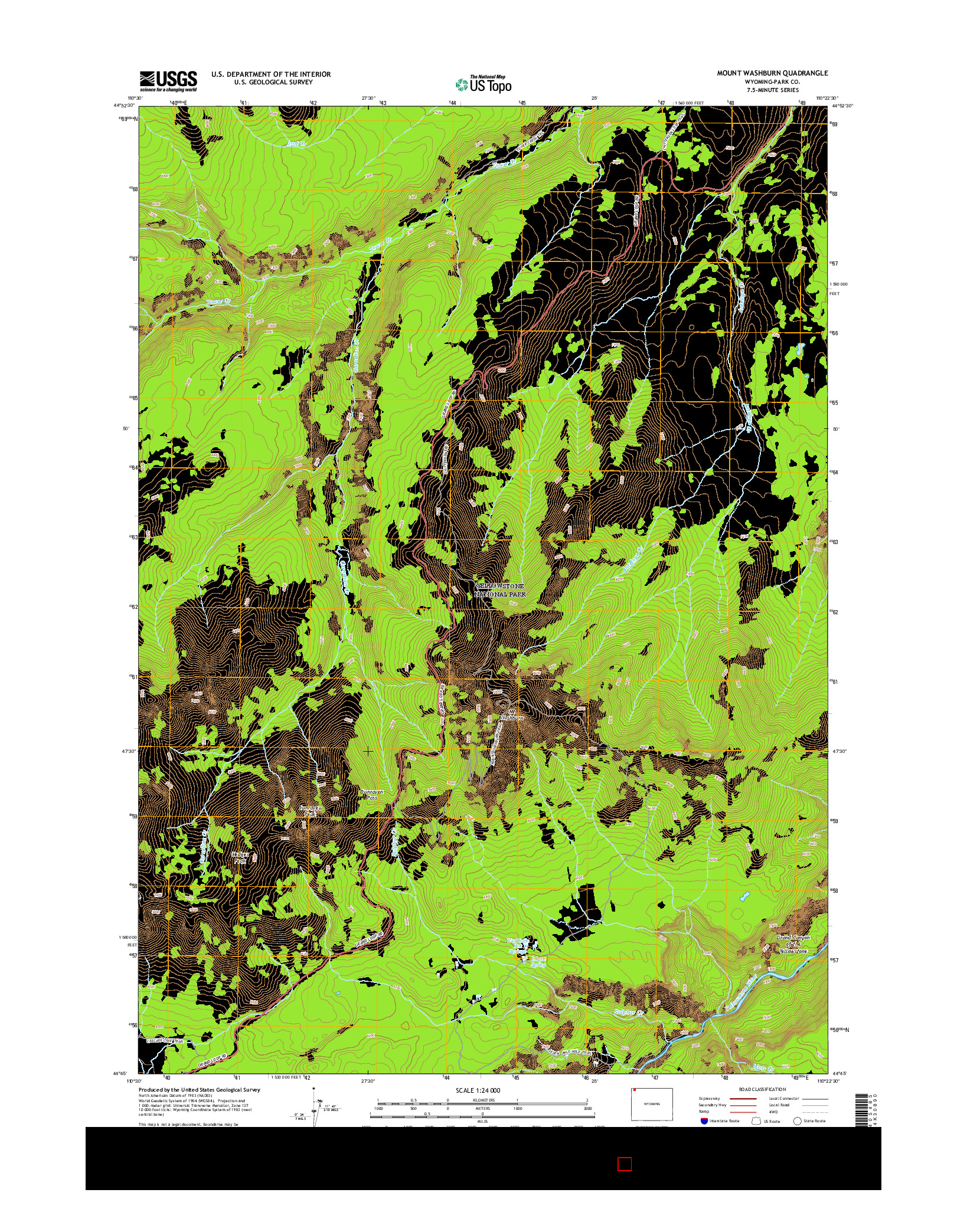 USGS US TOPO 7.5-MINUTE MAP FOR MOUNT WASHBURN, WY 2015